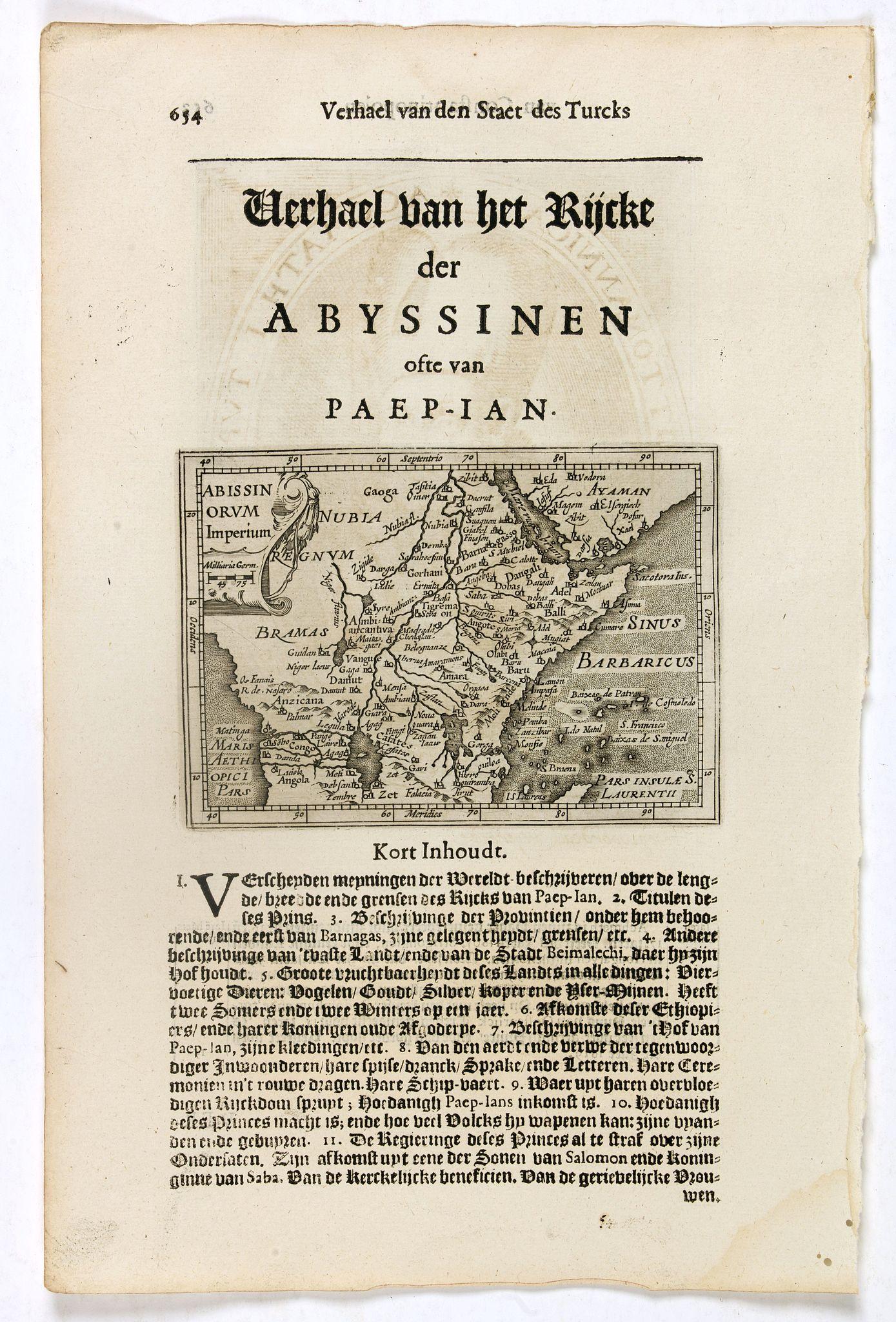 DE CLERCK, N. -  Abissinorum Imperium. / Acomath .I. Turcarum Imperator .XIIX. Ex Stirp. Ottomannica.