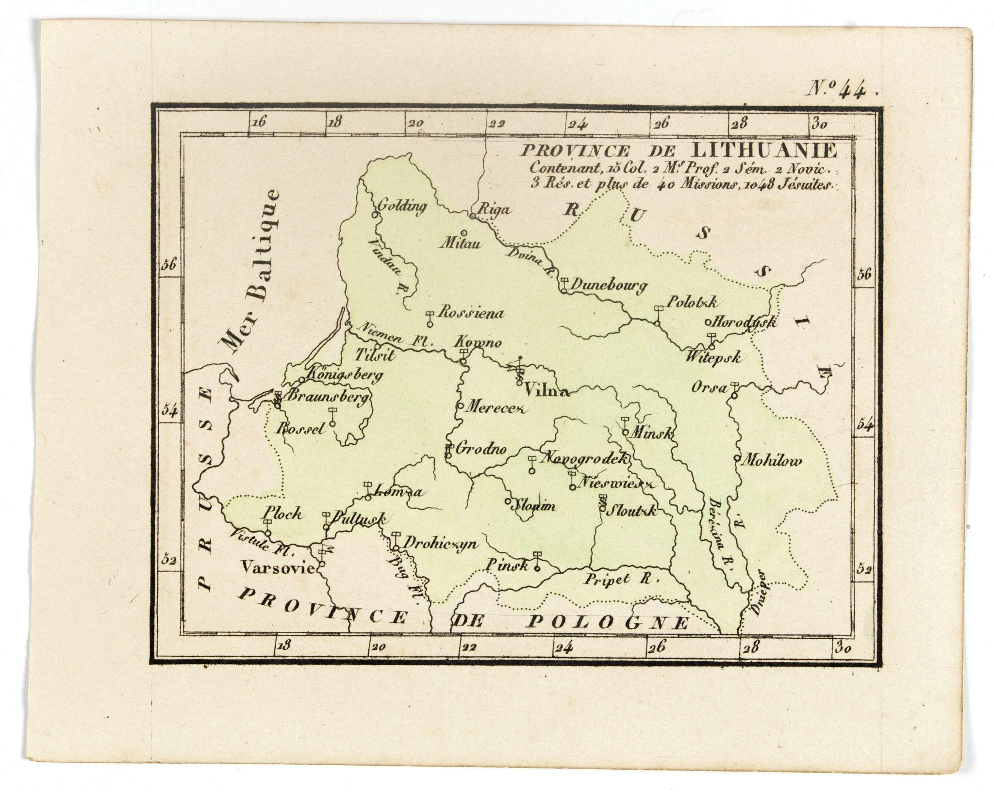 DENIS, L. -  Province de Lithuanie contenant 15 Col. 2 M.on Prof. 2 Sém. 2 Novic. 3 Rés. Et plus de 40 Jésuites.