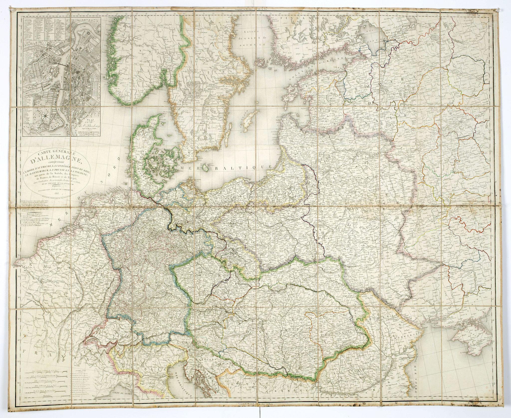 COLLIN, L. -  Carte générale d'Allemagne comprenant l'empire d'Autriche, la Confédération du Rhin, le Dannemarck, la Prusse et la Pologne, une partie de la Suède, des empires de France, de Russie et de Turquie . . .