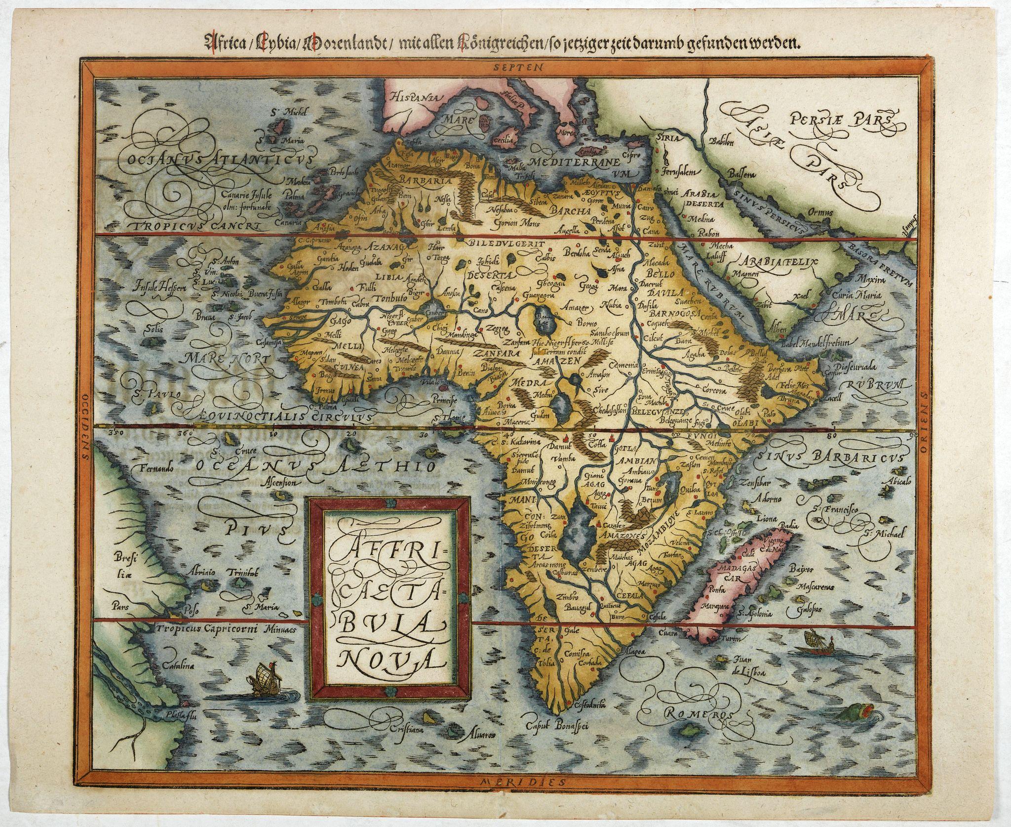 MÜNSTER,S. -  Africae tabula nova / Africa, Lybia, Morenlandt, mit allen Königreichen so jetziger zeit darumb gefunden werden. . .