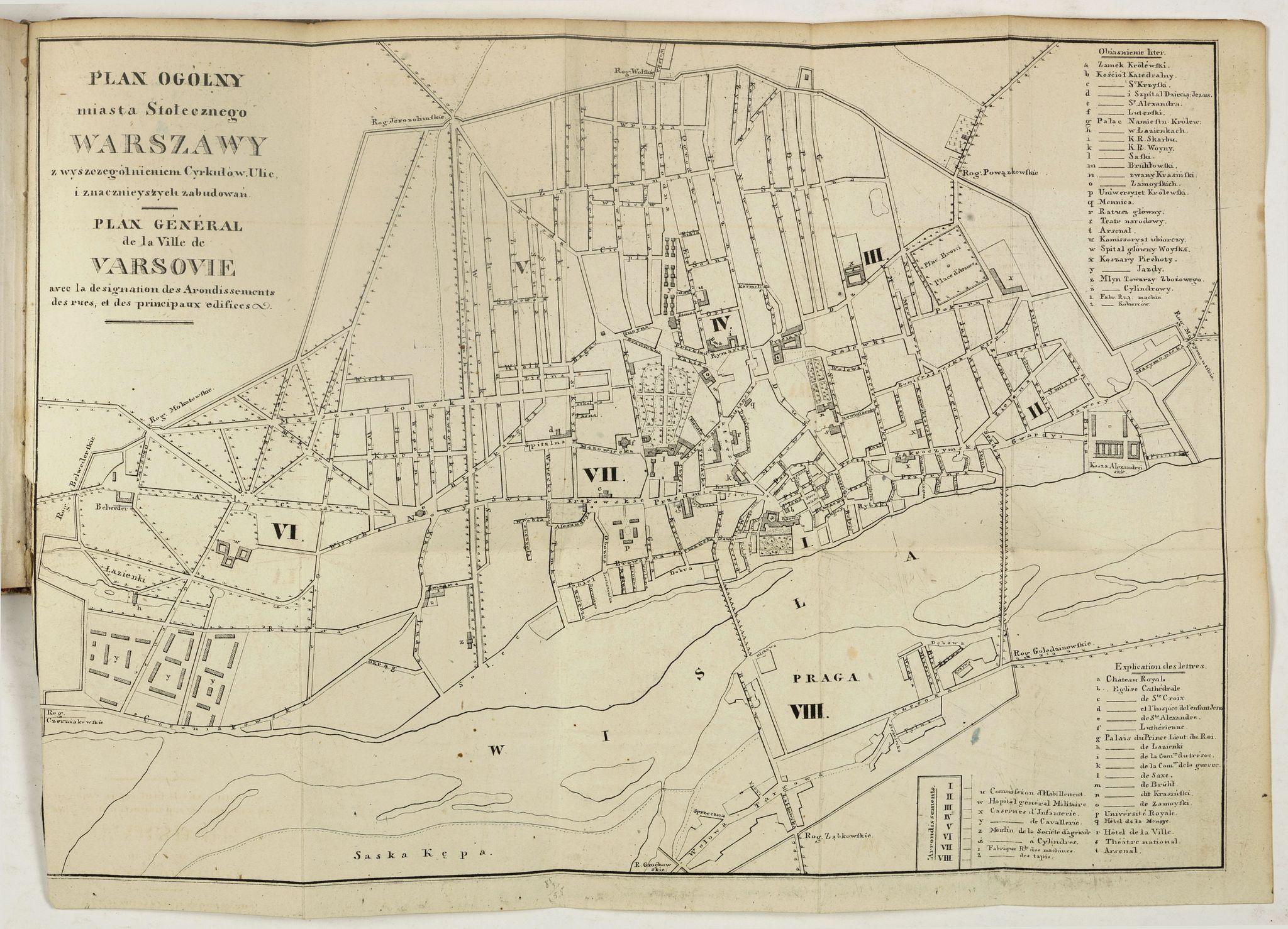 GLÜCKSBERG, J. -  Plan I Obraz Warszawy. Plan et Panorama de Varsovie.