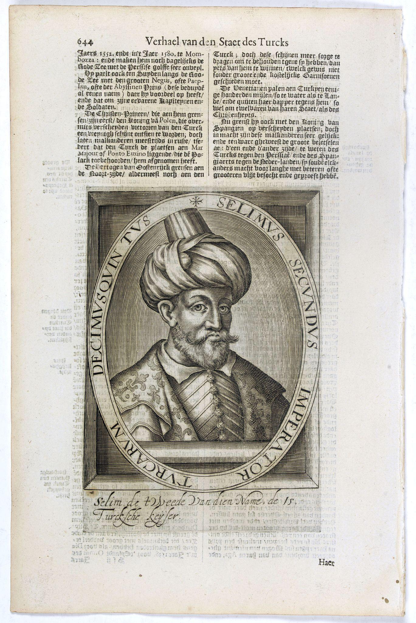 DE CLERCK, N. -  Selimus Secundus Imperator Turcarum Decimus Quintus.