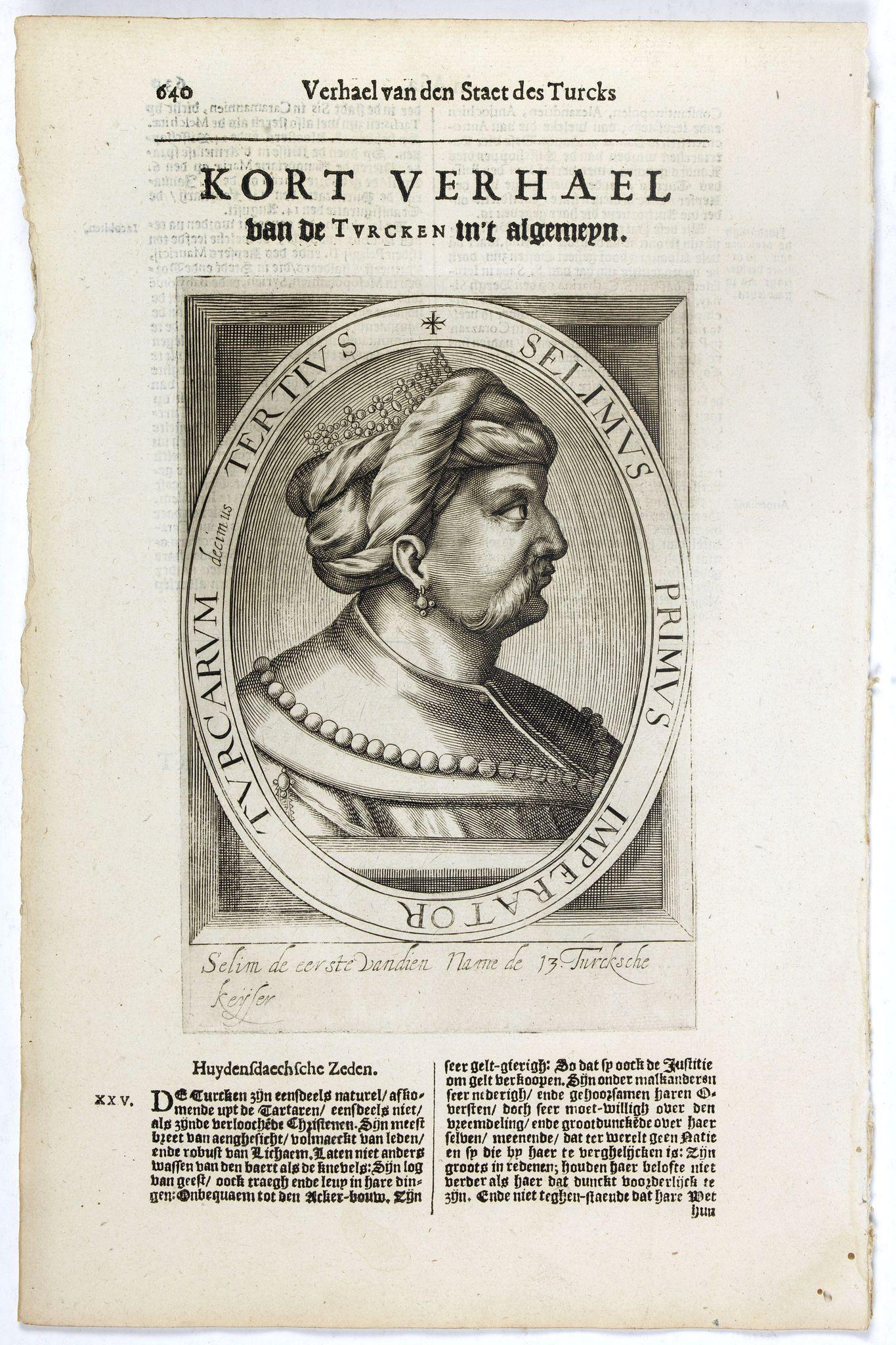 DE CLERCK, N. -  Selimus Primus Imperator Turcarum decimus Tertius.