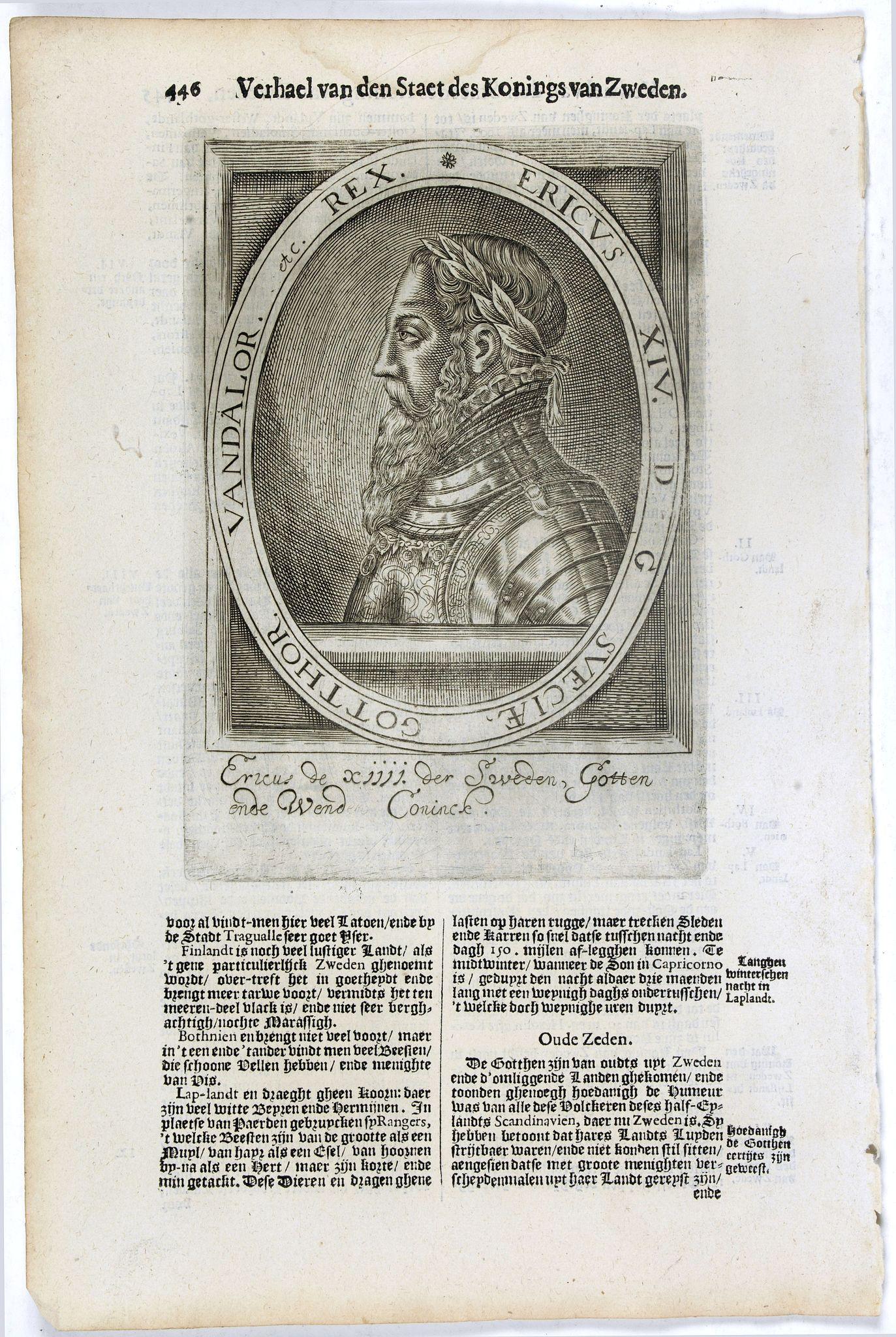 DE CLERCK, N. -  Ericus XIV. D G  Sveciae, Gotthor. Vandalor. etc. Rex.