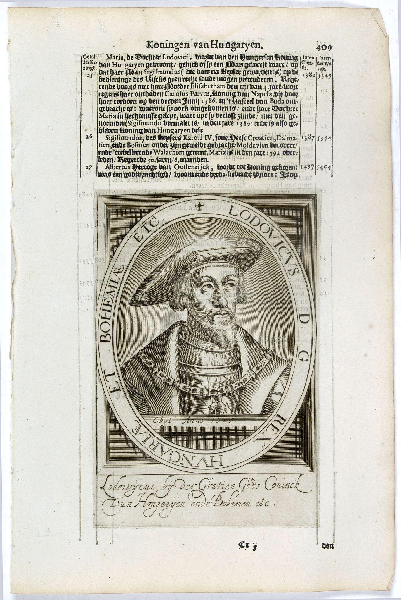 DE CLERCK, N. -  Lodovicus D.G. Rex Hungariae et Bohemiae Etc.
