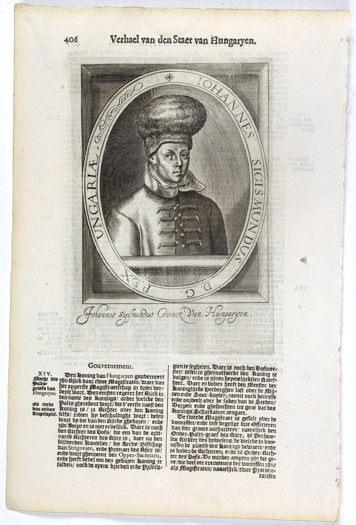 DE CLERCK, N. -  Iohannes Sigismundus D. G. Rex Ungariae. . .