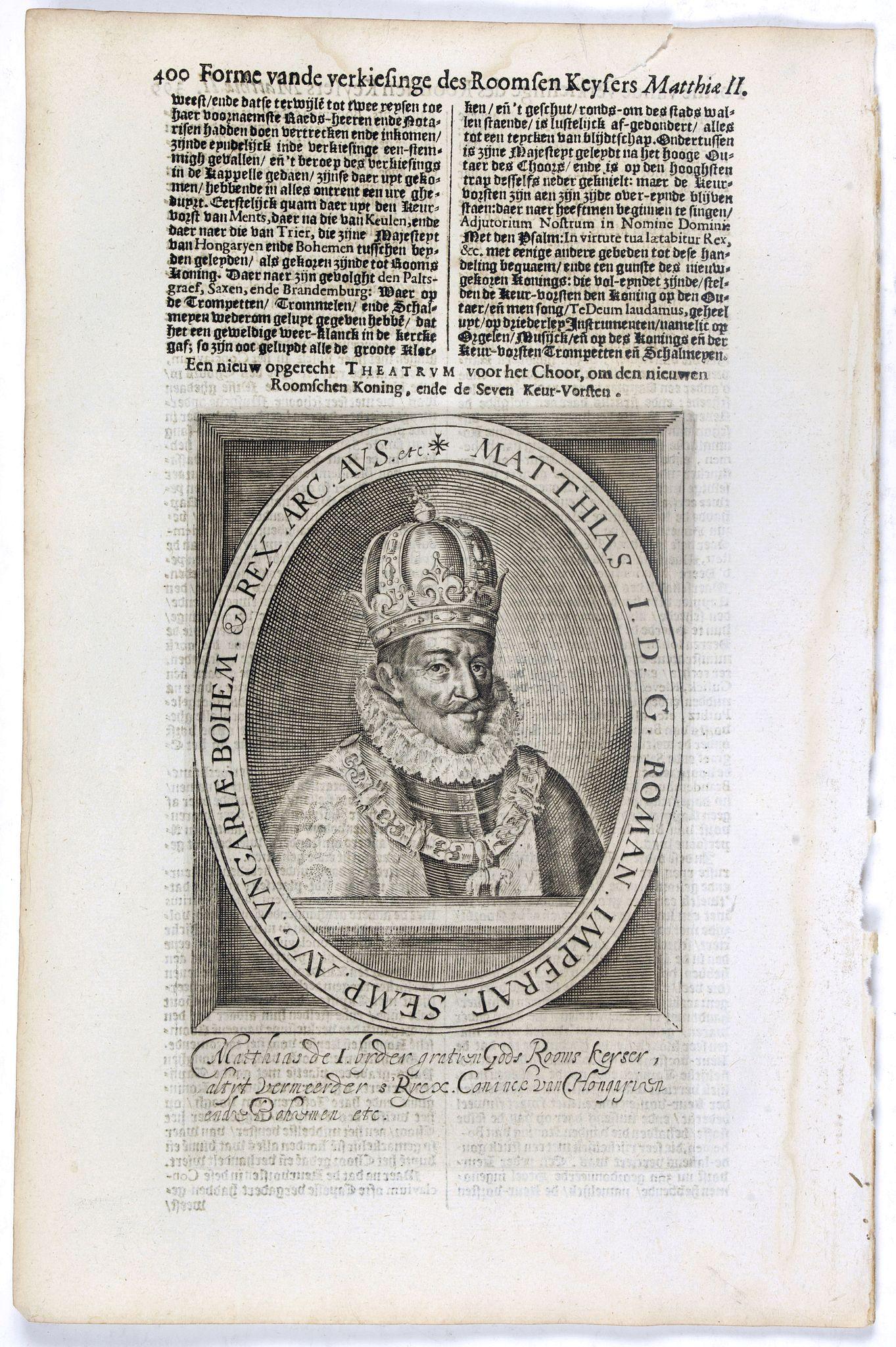 DE CLERCK, N. -  Matthias I. D. G. Roman. Imperat. Semp. Aug. Ungariae Bohem. & Rex. Arc. Aus. etc.
