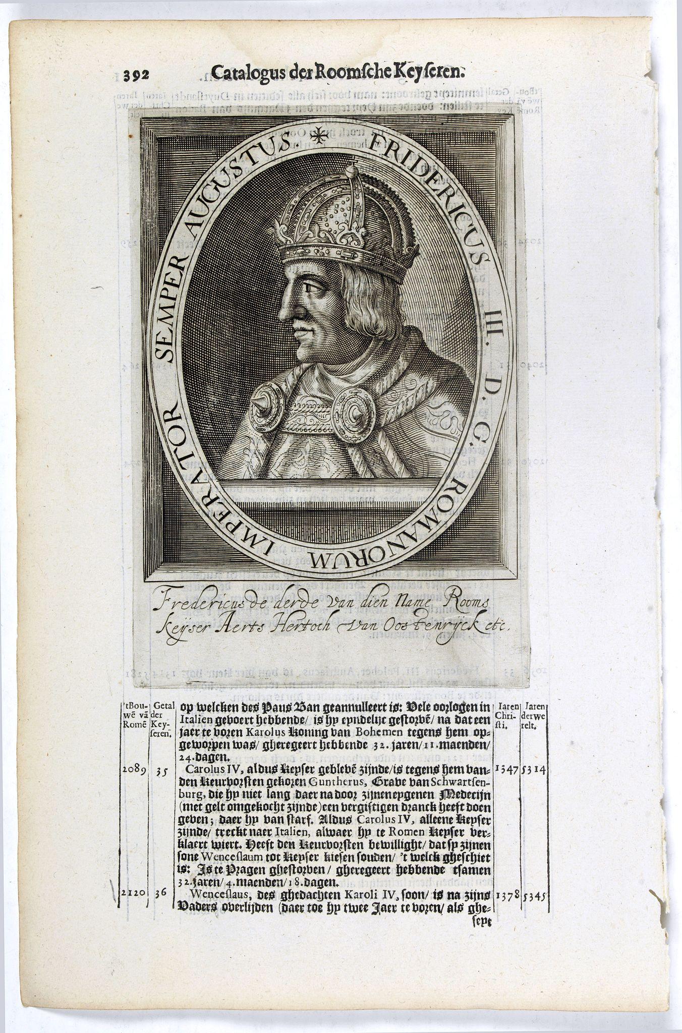 DE CLERCK, N. -  Fridericus III. D. G. Romanorum Imperator Semper Augustus.