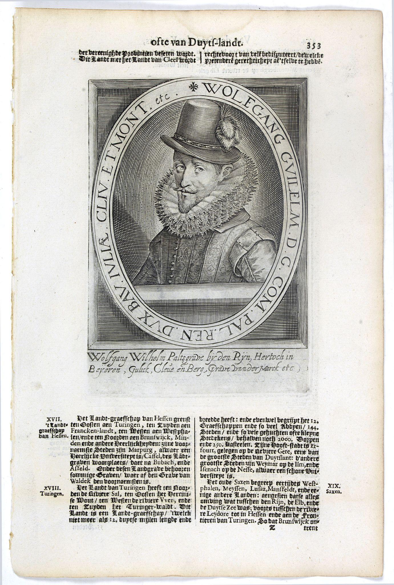 DE CLERCK, N. -  Wolfgang Guilelm.. / Georgius Wilhelm. March. Brandenb..