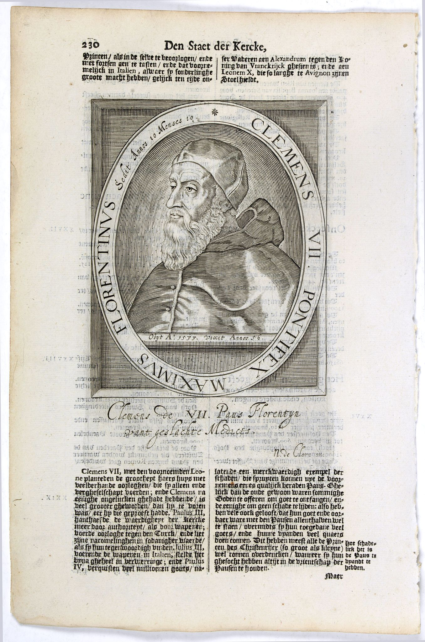 DE CLERCK, N. -  Clemens VII. Pontifex Maximus Florentinus Sedit Annos 10 Menses 10.