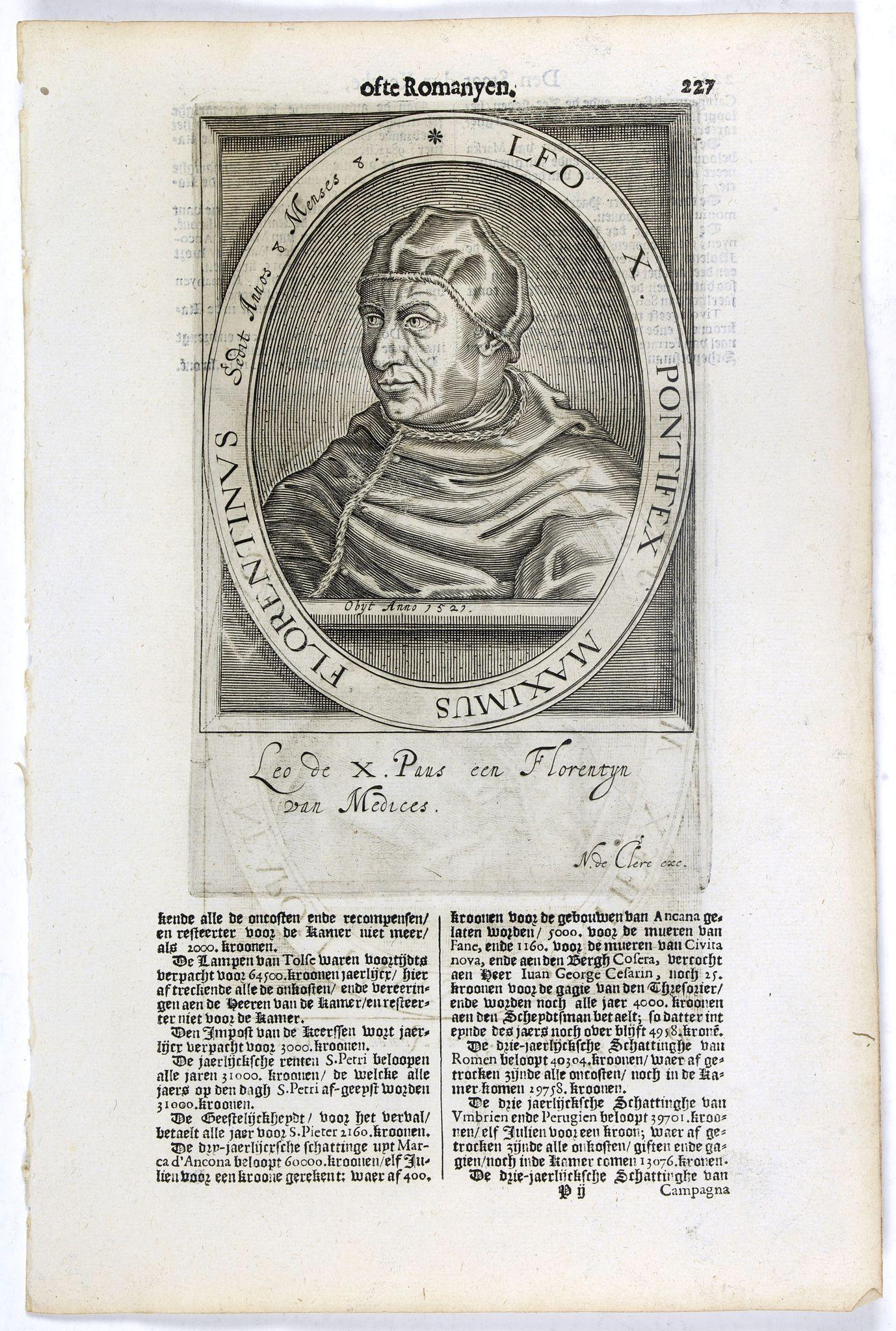 DE CLERCK, N. -  Leo X. Pontifex Maximus Florentinus Sedit Annos 8 Menses 8. / Paulus Quartus Neapolitanus Pontifex Maximus..