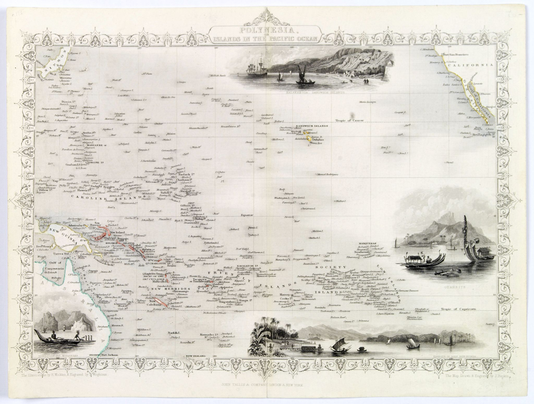 TALLIS, J., Polynesia or Islands in the Pacific Ocean., antique map, old maps