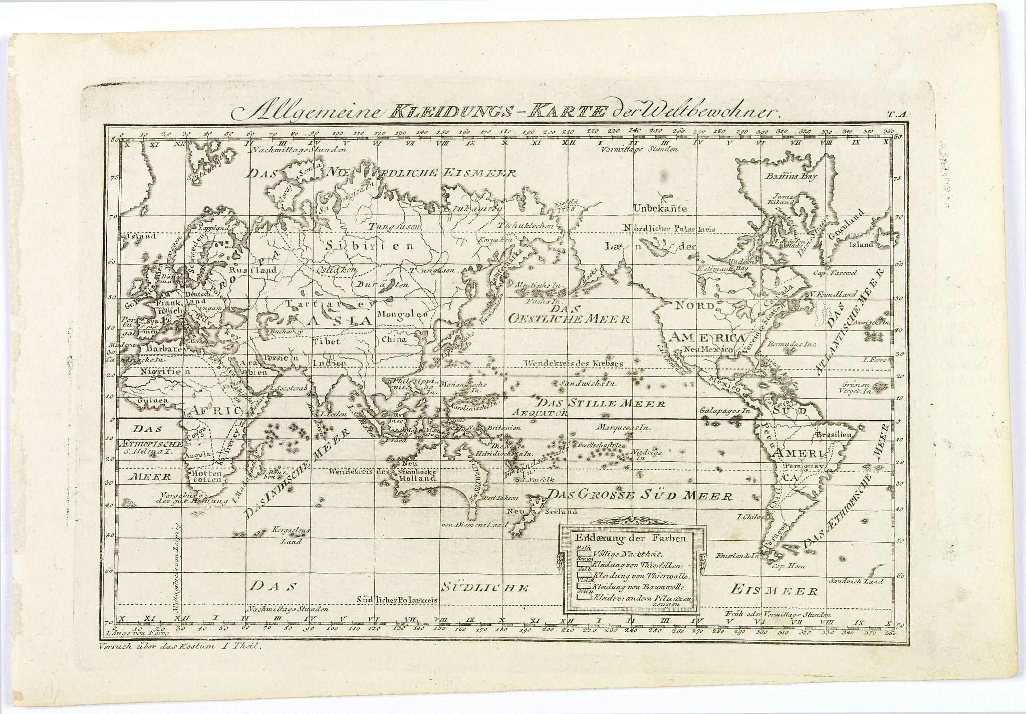 THEIL. - Allgemeine Kleidungs-Karte der Weltbewohner.