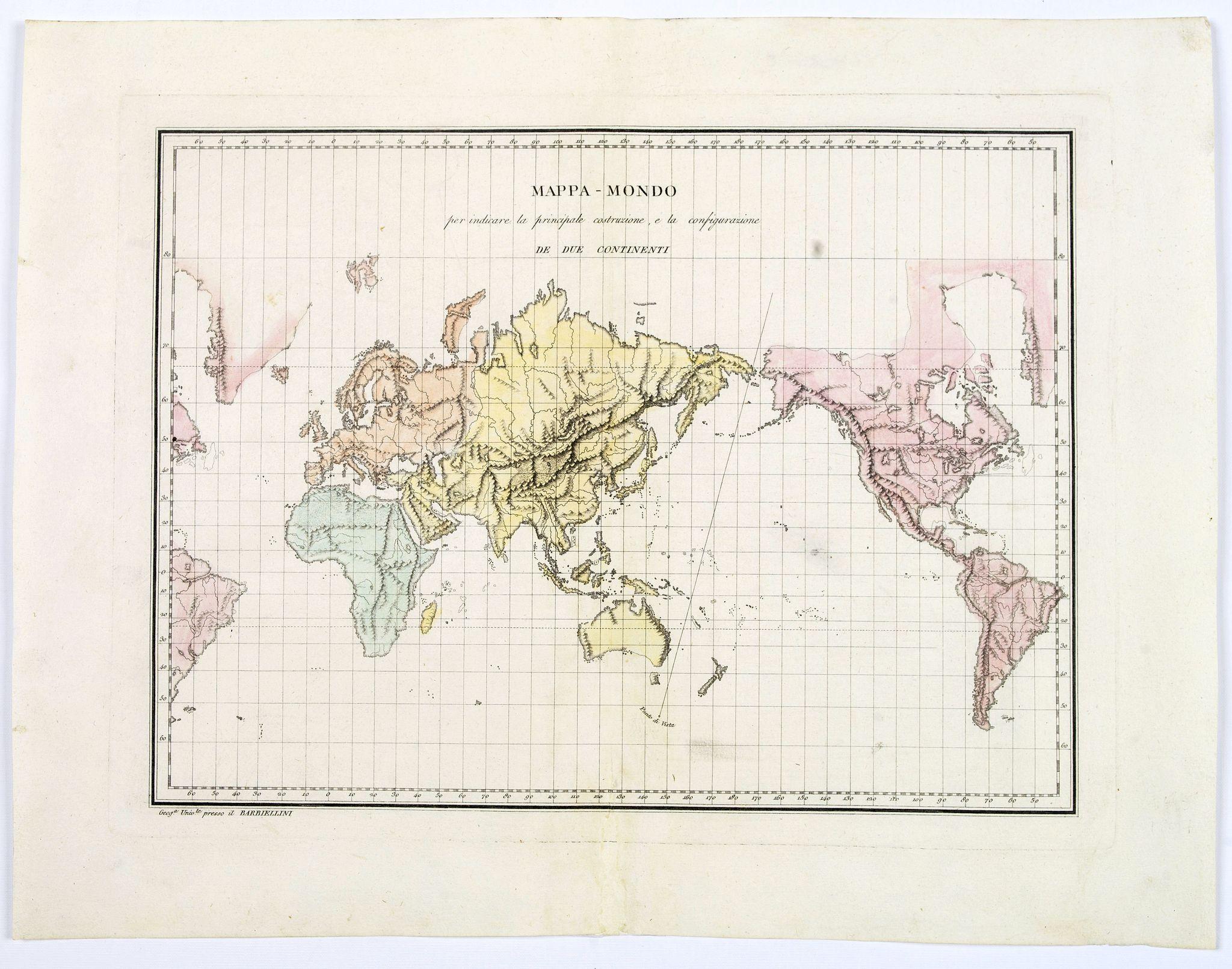 BARBIELLINI, C.A. - Mappa-Mondo per indicare la principale costruzione, e la configurazione de Due Continenti.
