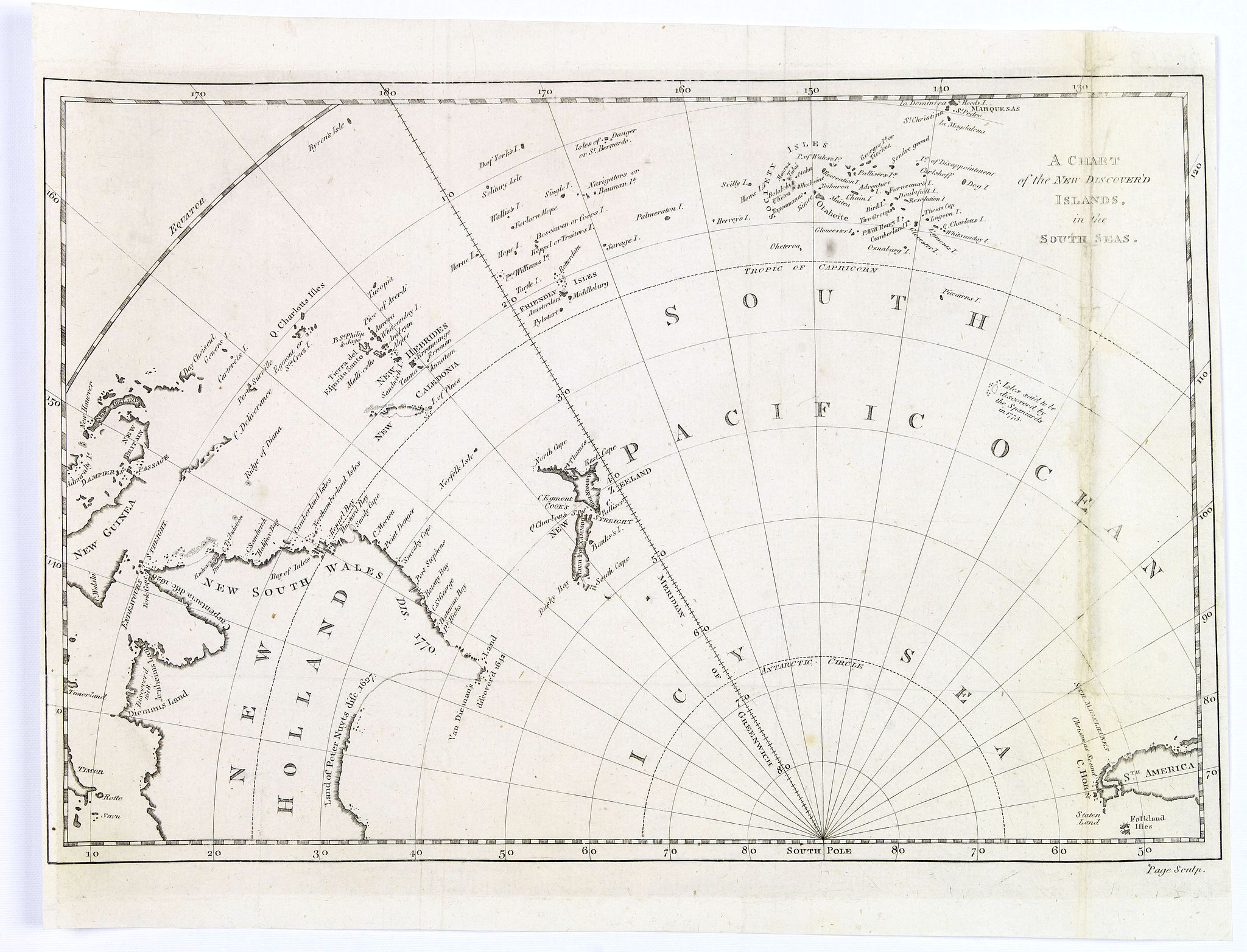 PAGE - A Chart of the New Discover'd Islands, in the South Seas.