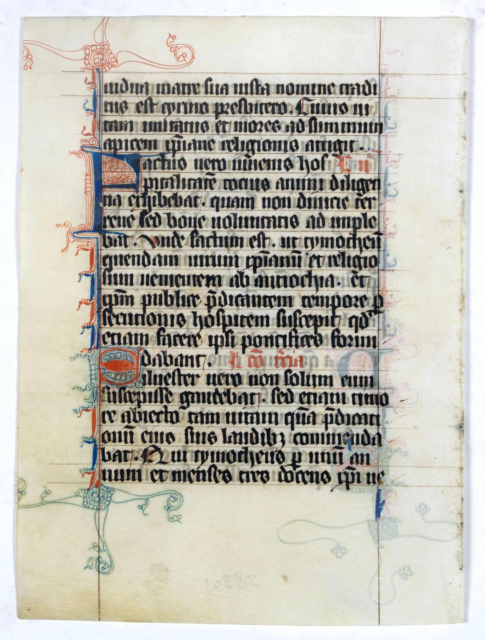 BREVIARY -  Manuscript leaf from a very early [around 1300] Breviary.