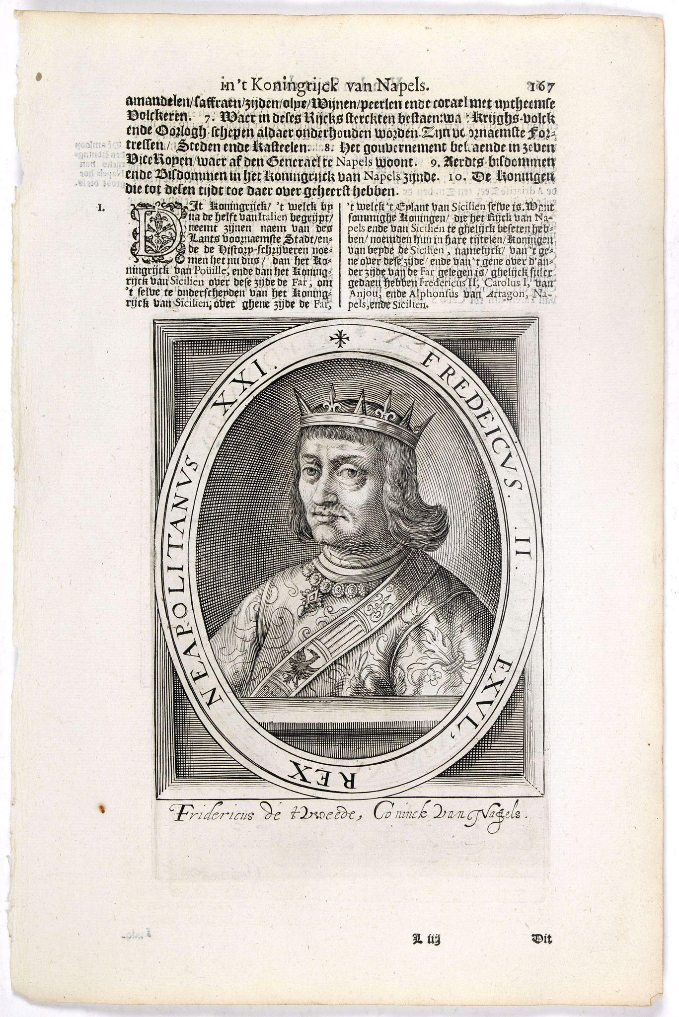 DE CLERCK, N. -  Fredeicus II.  EXVL, Rex eapoltanus XXI.