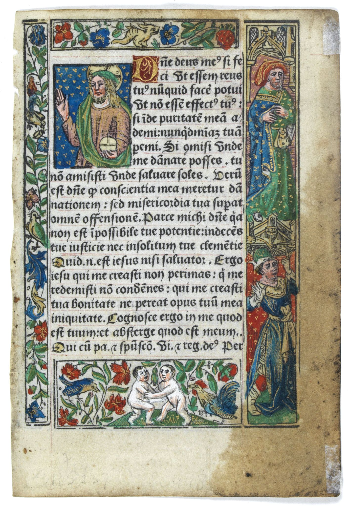 BOOK OF HOURS. -  Leaf on vellum from a printed Book of Hours.