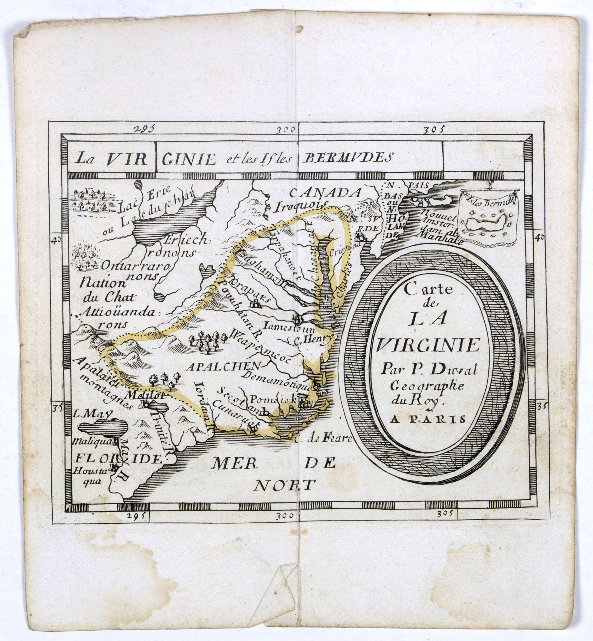 DU VAL, P. - Carte de La Virginie.