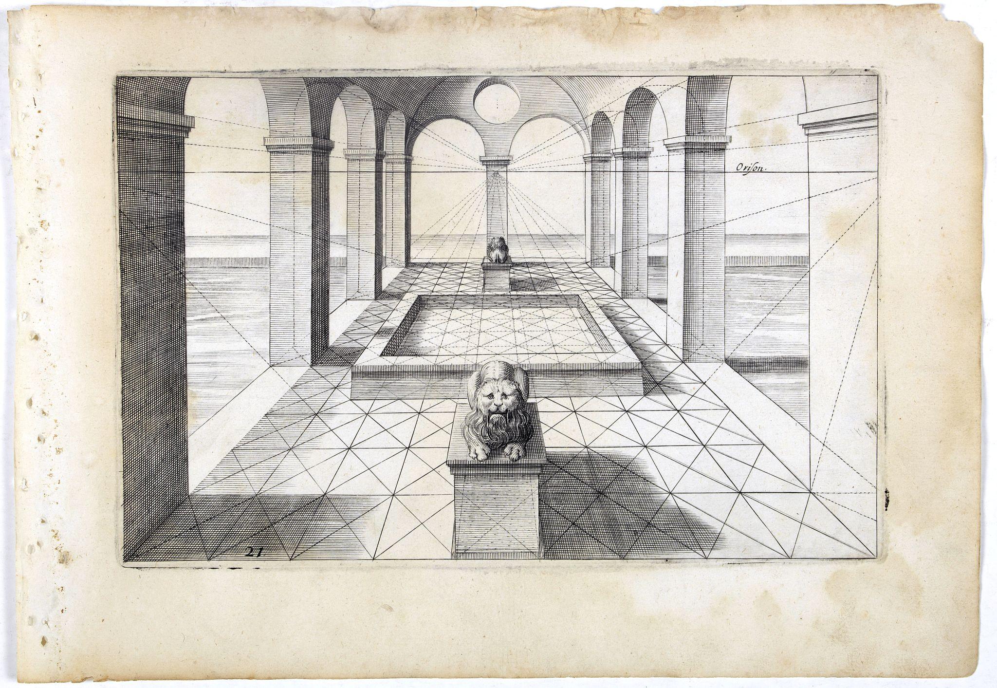 VREDEMAN DE VRIES, J. / HONDIUS, H. -  Perspective print by Vredeman de Vries. 21.