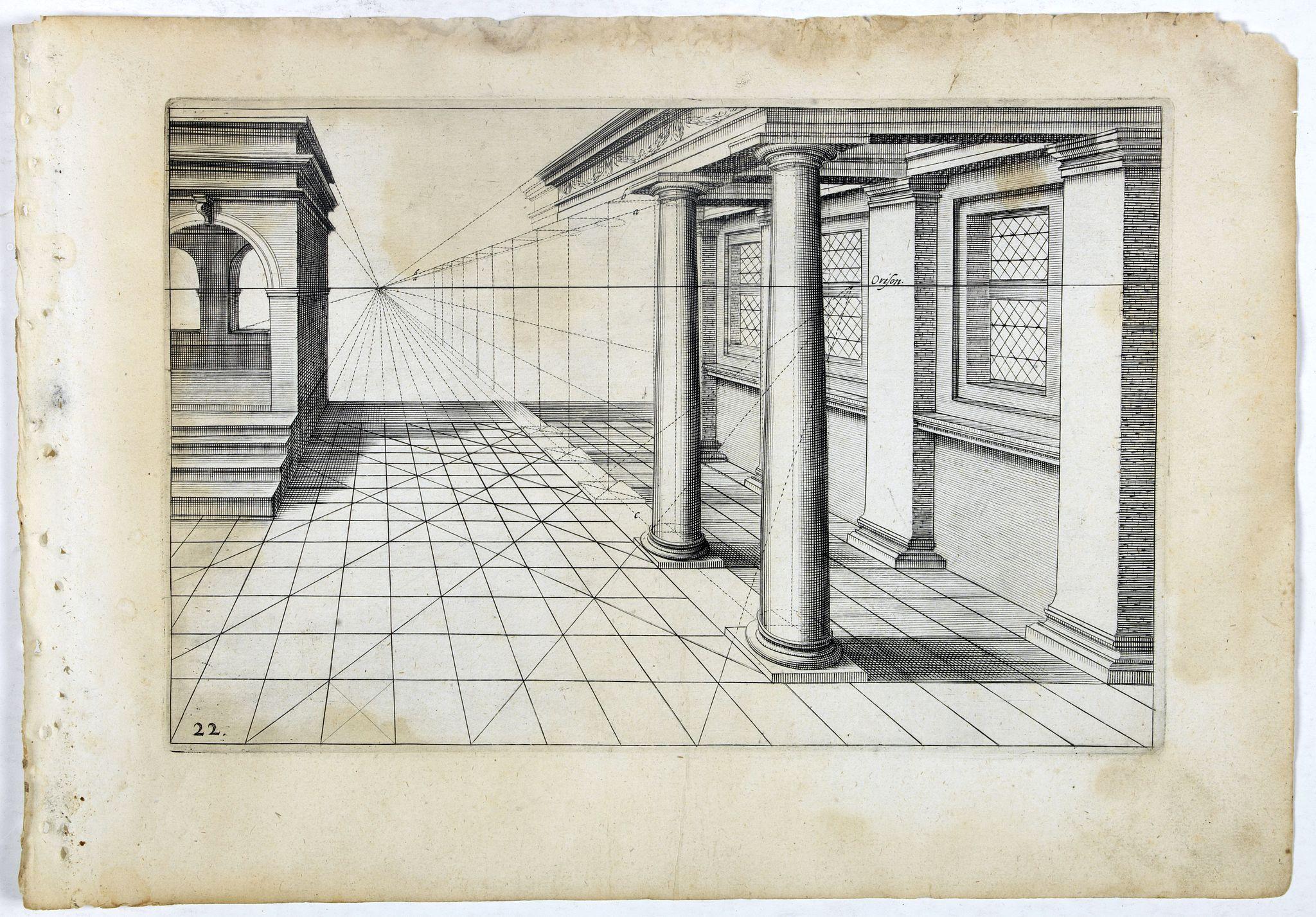 VREDEMAN DE VRIES, J. / HONDIUS, H. -  Perspective print by Vredeman de Vries. 22.