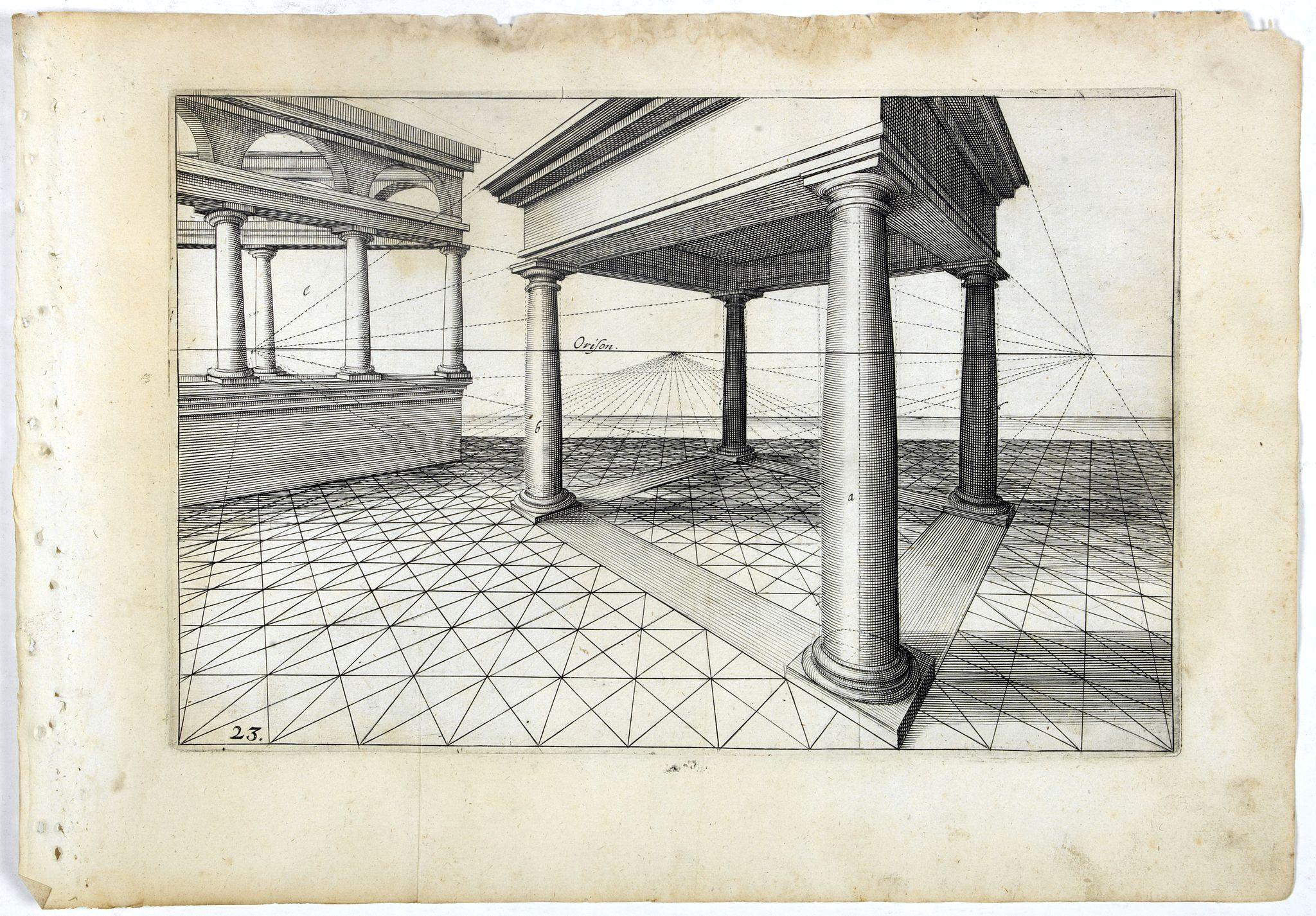 VREDEMAN DE VRIES, J. / HONDIUS, H. -  Perspective print by Vredeman de Vries. 23.
