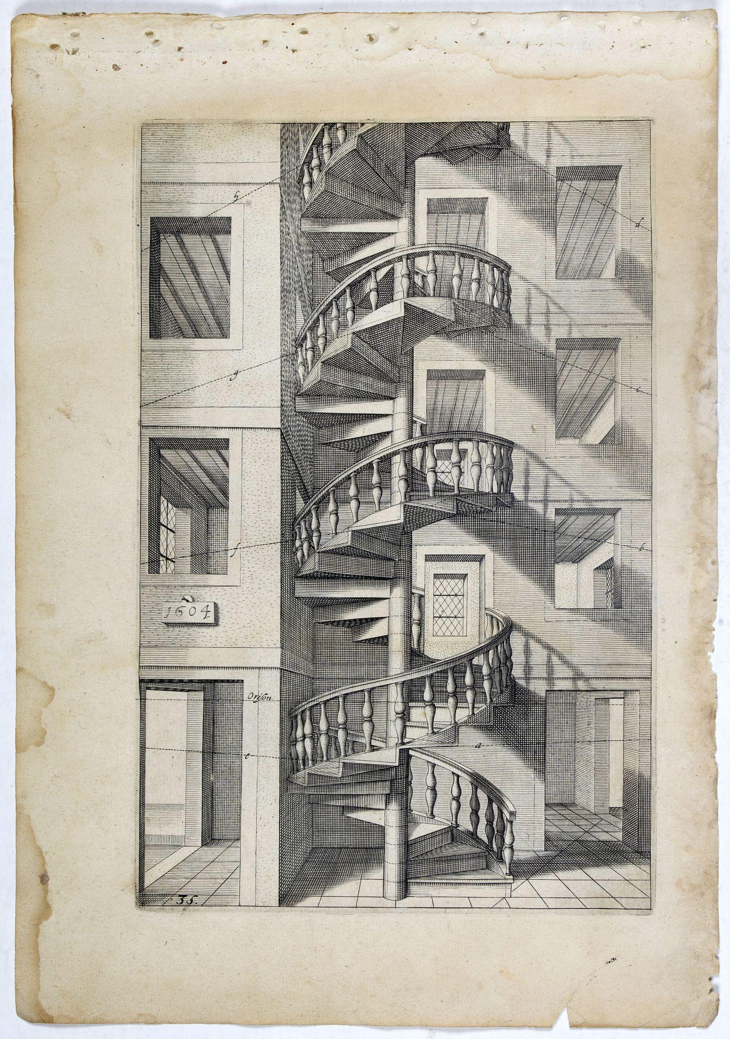 VREDEMAN DE VRIES, J. / HONDIUS, H. -  Perspective print by Vredeman de Vries. 35.