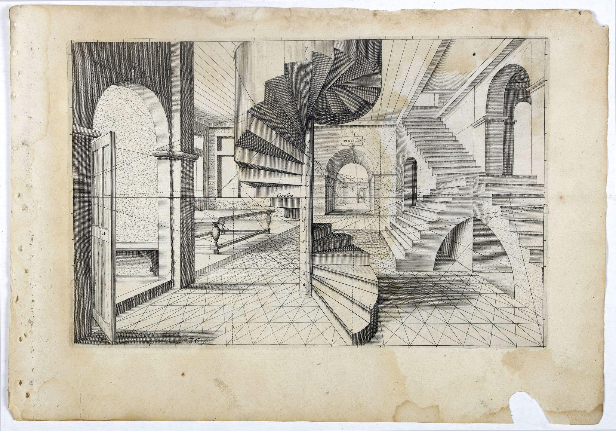 VREDEMAN DE VRIES, J. / HONDIUS, H. -  Perspective print by Vredeman de Vries. 36.