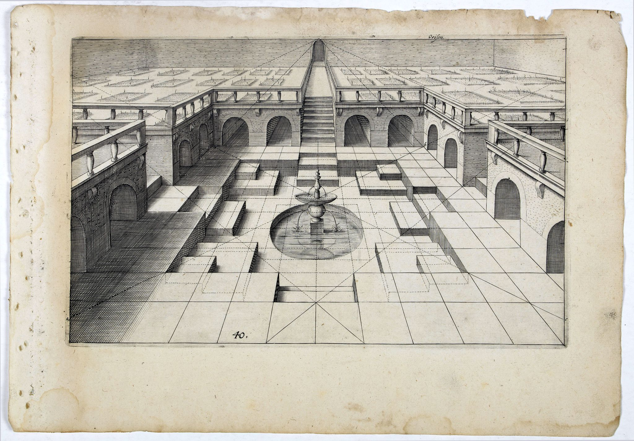 VREDEMAN DE VRIES, J. / HONDIUS, H. -  Perspective print by Vredeman de Vries. 40.