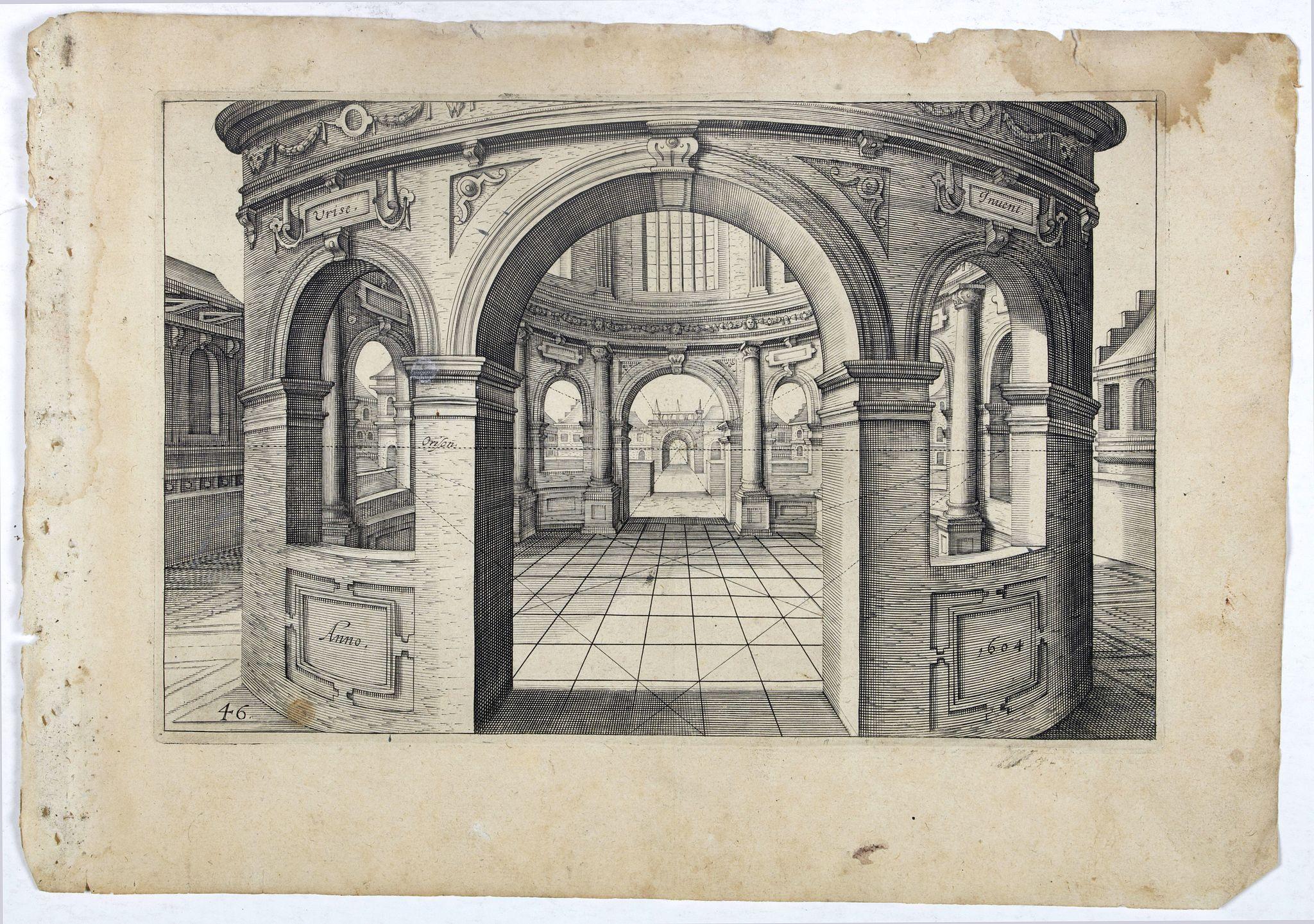 VREDEMAN DE VRIES, J. / HONDIUS, H. -  Perspective print by Vredeman de Vries. 46.