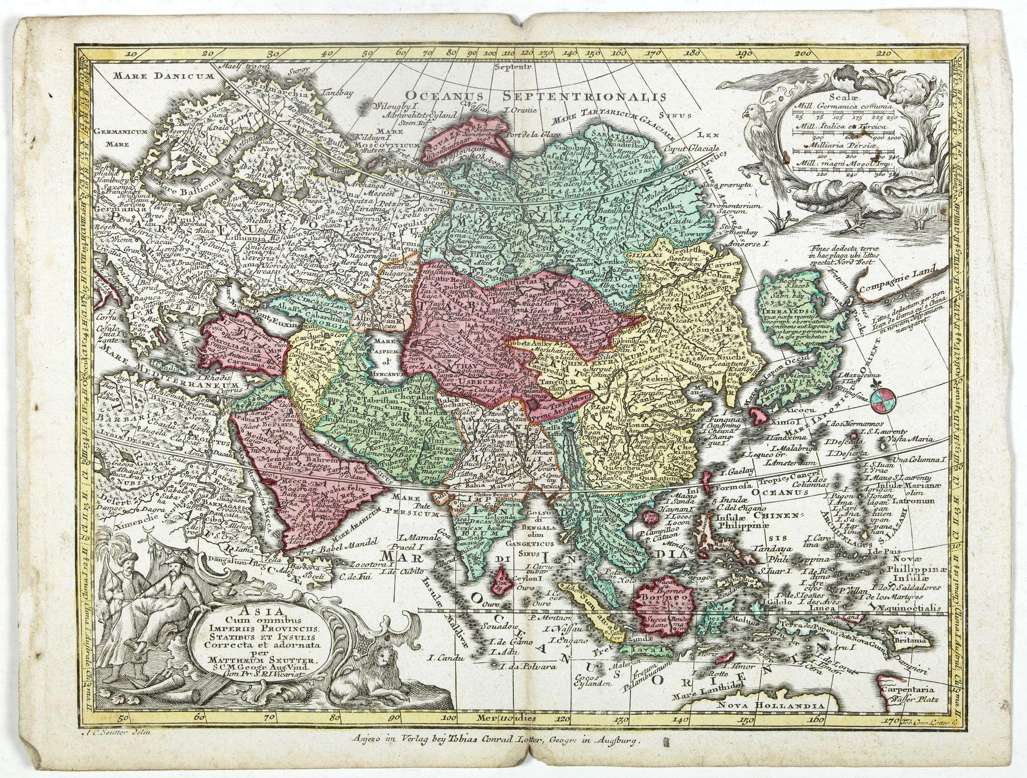 SEUTTER, M. -  Asia Cum omnibus Imperiis, Provinciis, Statibus et Insulis. . .