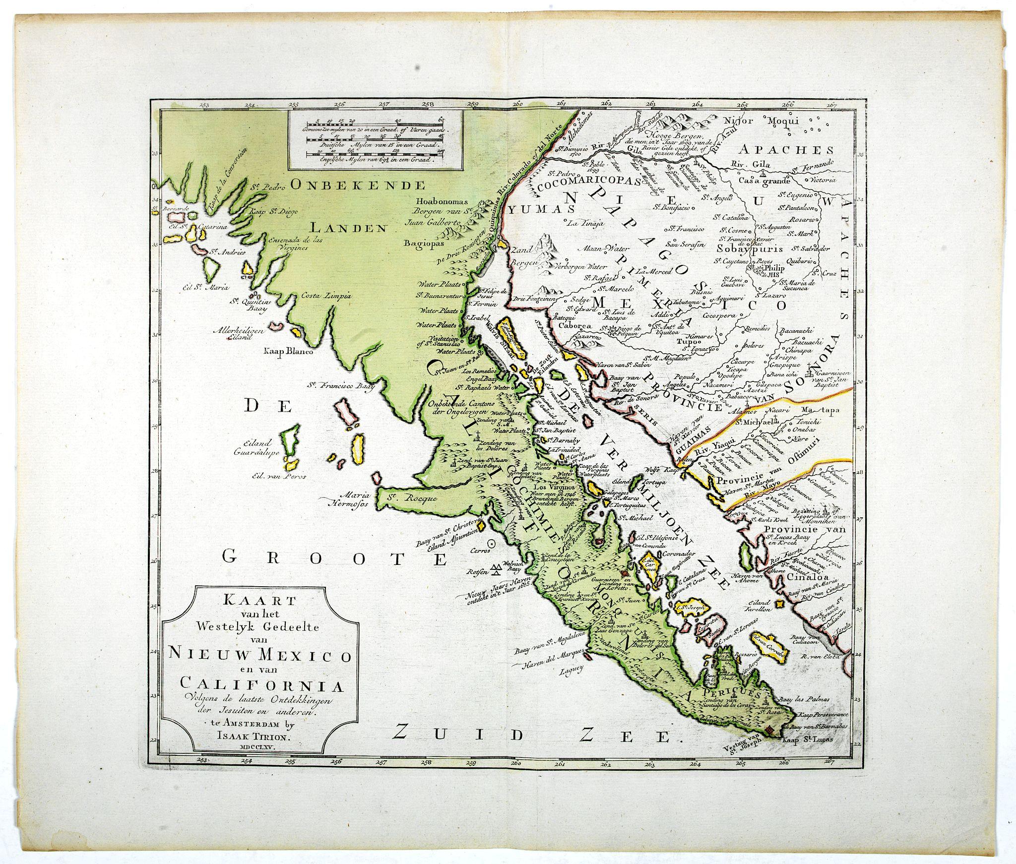 TIRION, I. -  Kaart van het Westelyk Gedeelte van Nieuw Mexico en van California. . . MDCCLXV ..