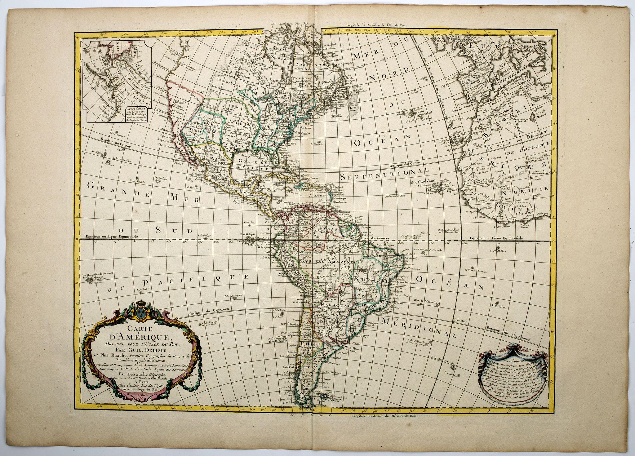 DELISLE / BUACHE / DEZAUCHE. - Carte d'Amerique dressee pour l'Usage du Roi…