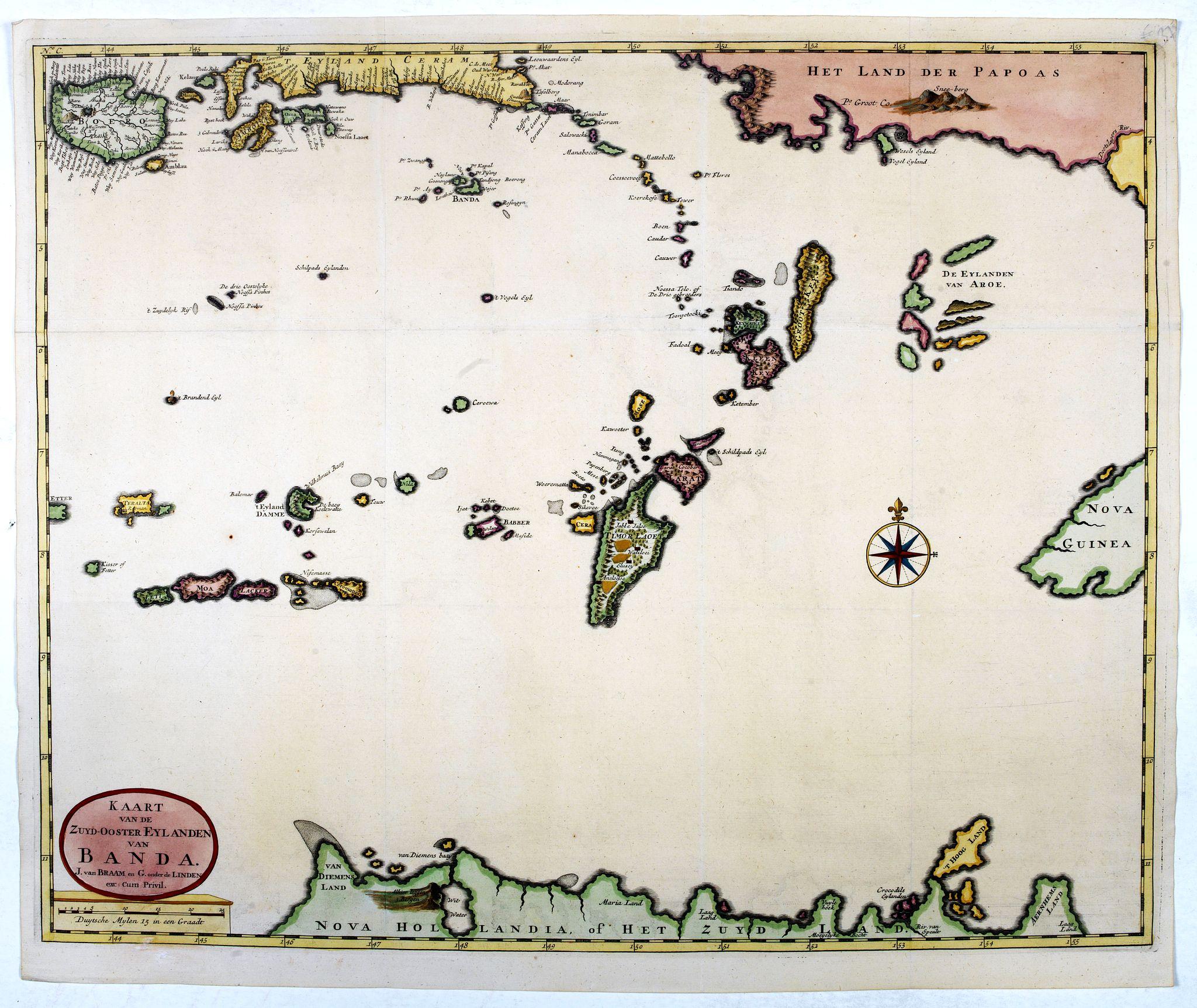 VALENTIJN, F. -  Kaart van de Zuyd-Ooster Eylanden van Banda.
