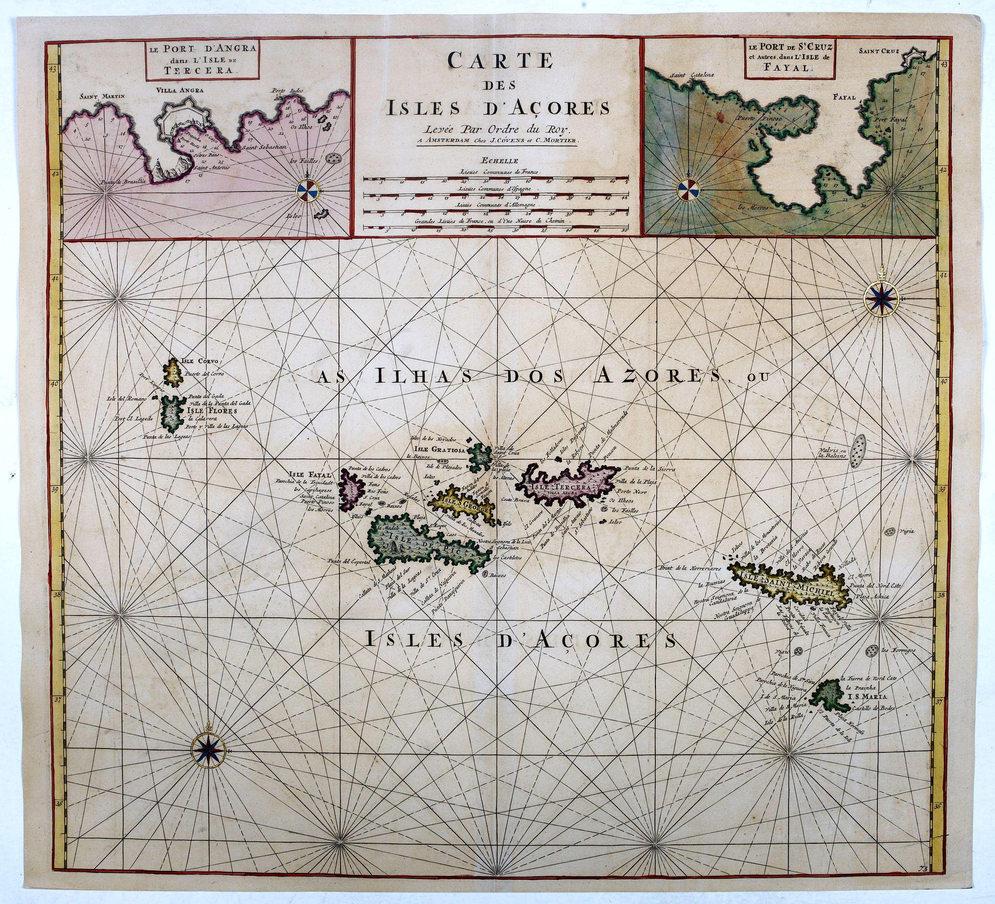 COVENS, J. / MORTIER, C. -  Carte des Isles d'Acores.