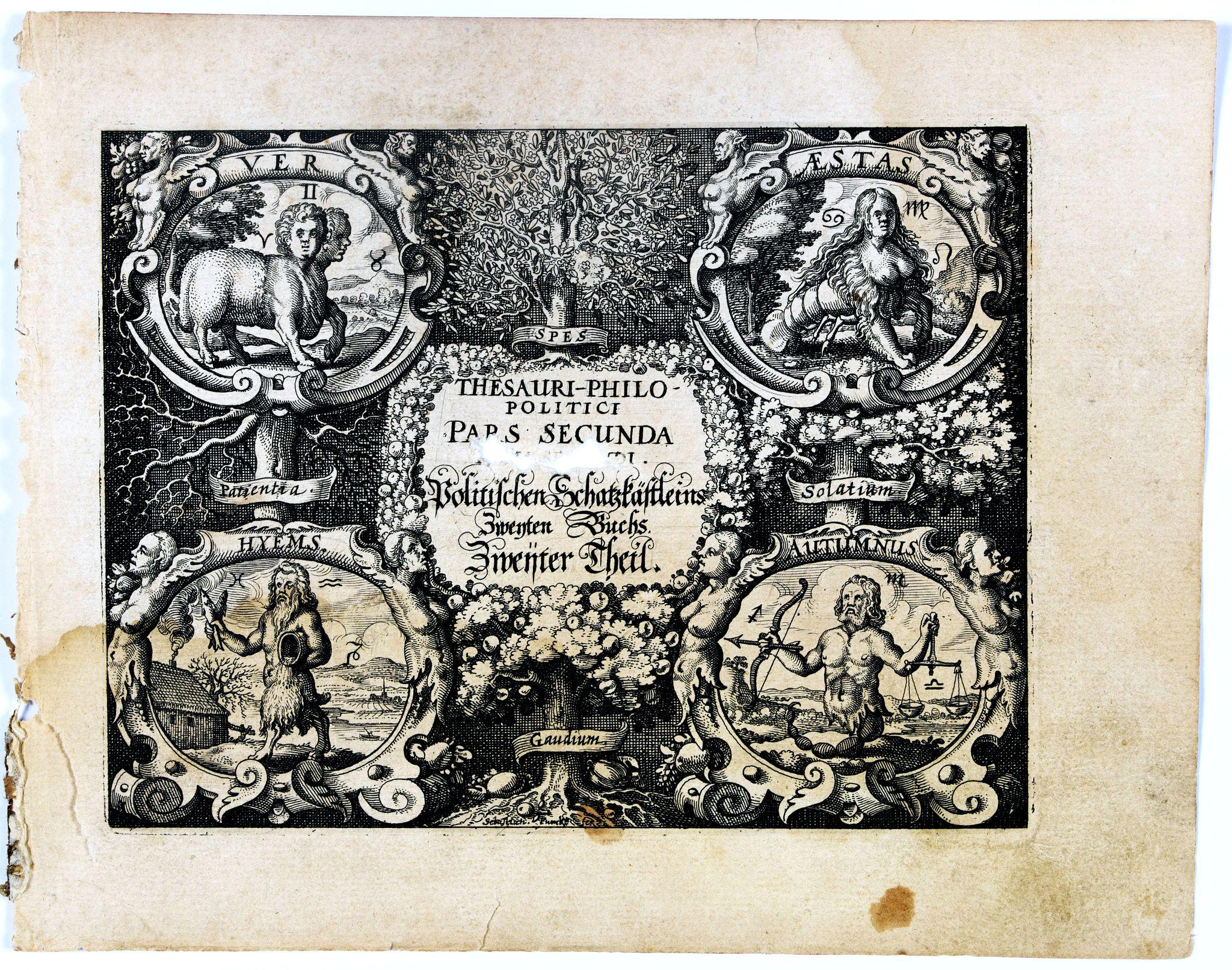 MEISNER, D. -  [Title page] Thesauri Philo-Politci pars Secunda. . .