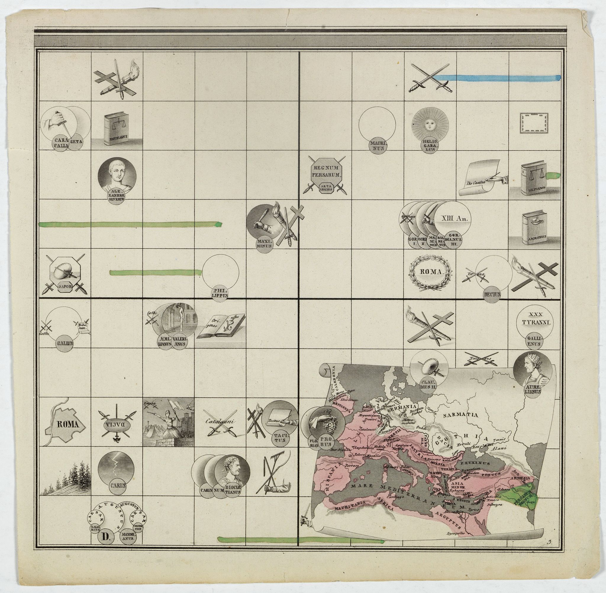 ANONYMOUS -  [Untitled map of the European countries in a playing grid].