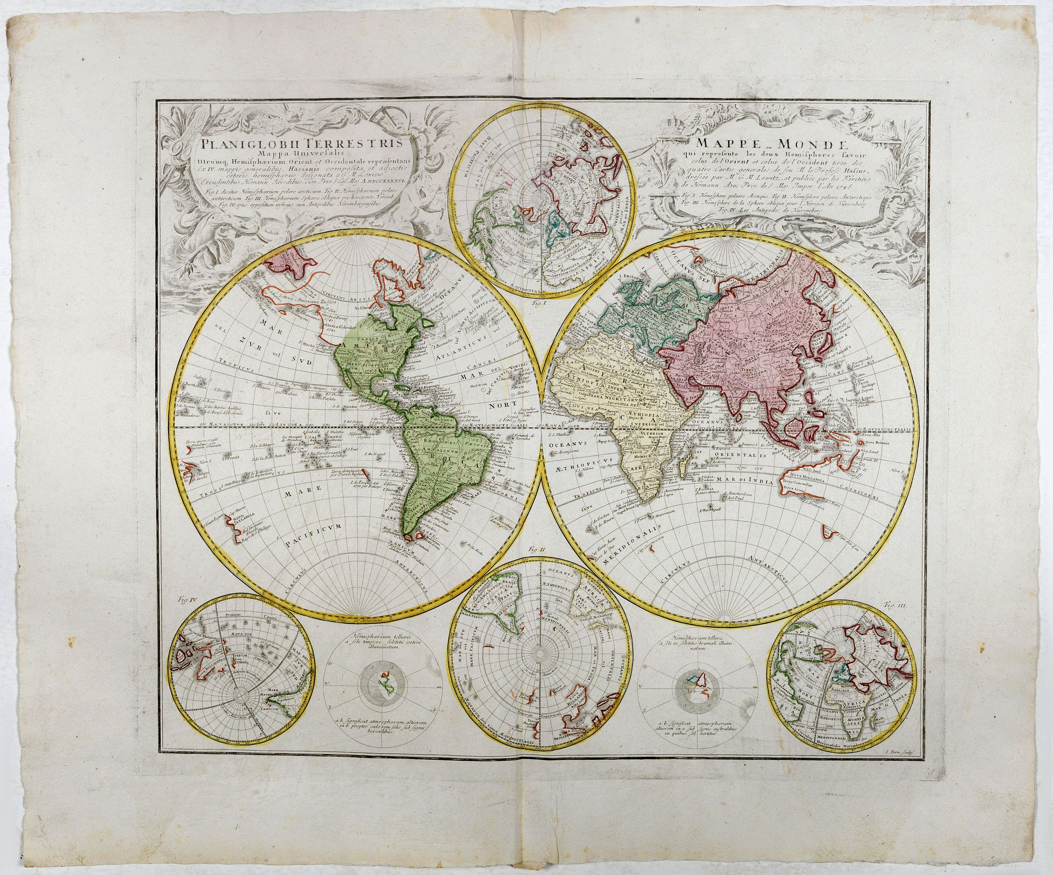 HOMANN HEIRS. -  Planiglobii Terrestris Mappa Universalis..  - Mappe-Monde qui represente les deux Hemispheres. . .