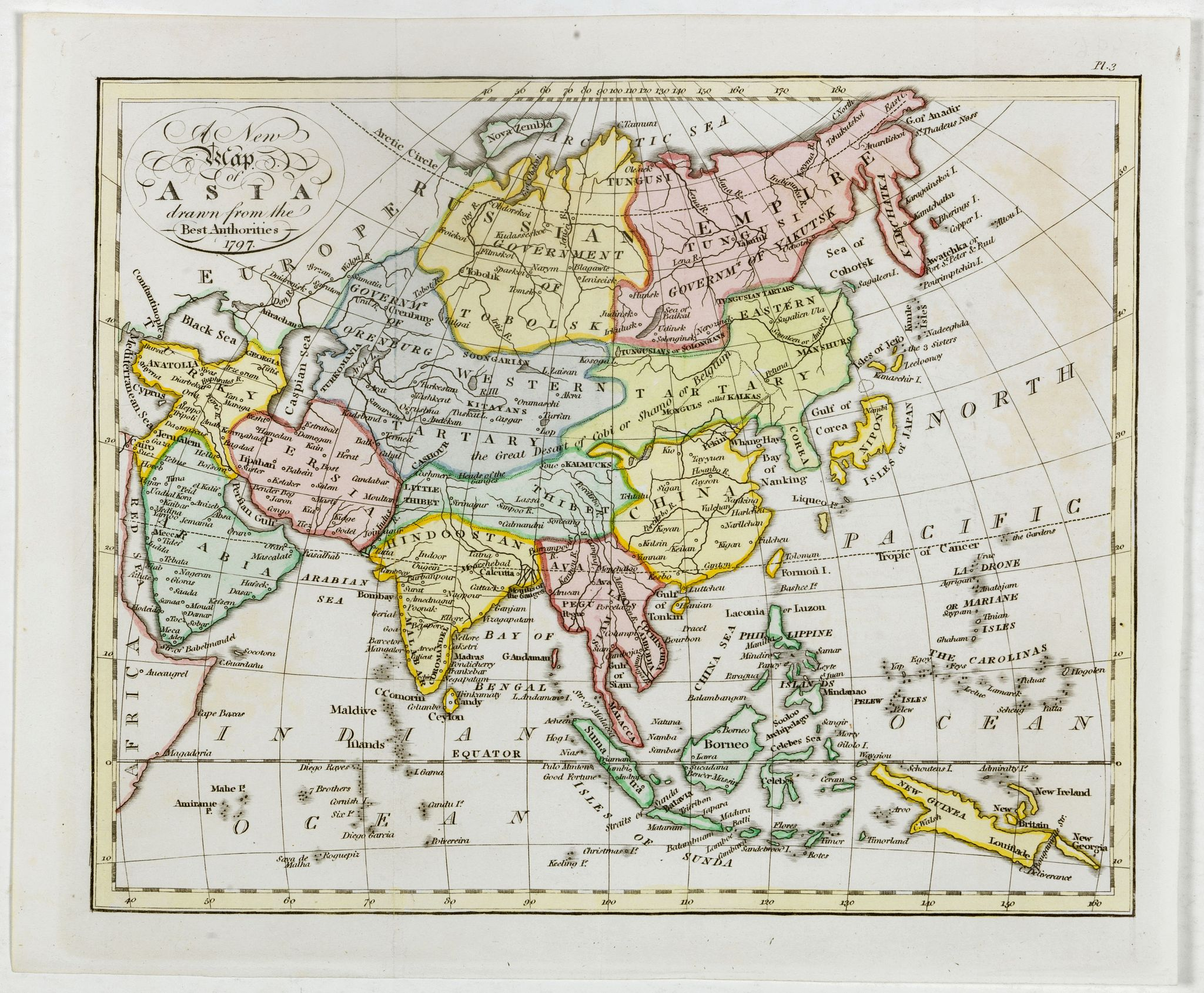 CADELL / DAVIES -  A New Map of Asia, Drawn from the Best Authorities 1797.
