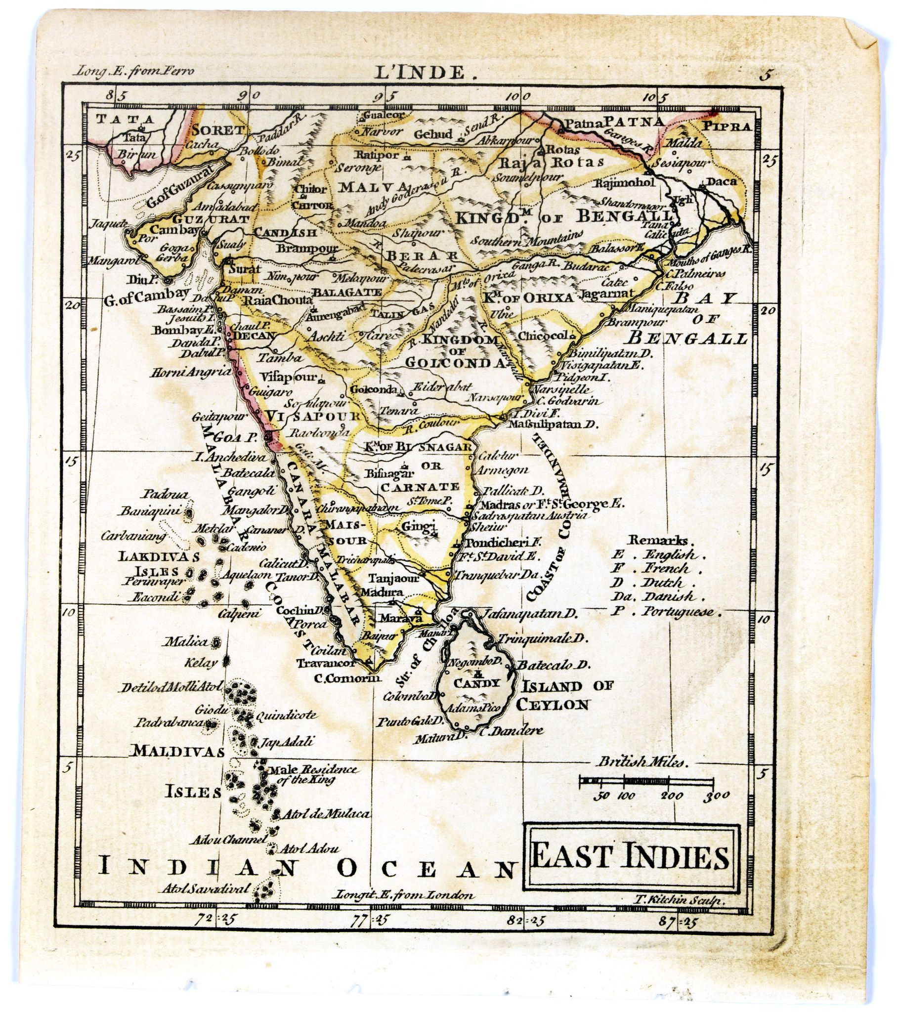 DURY, A. / SAYER, R. / KITCHIN, T.,  East Indies. {India], antique map, old maps