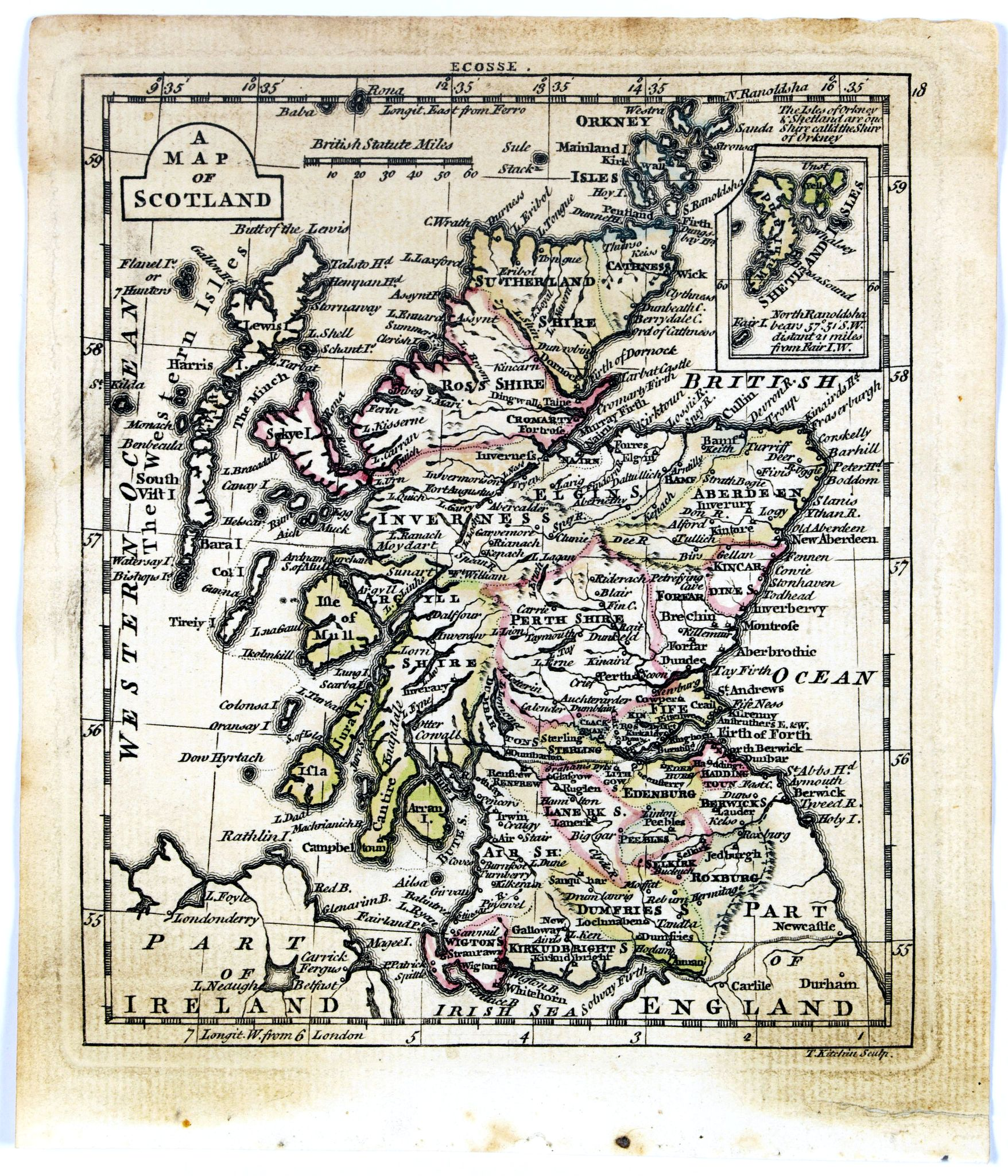 DURY, A. / SAYER, R. / KITCHIN, T.,  A map of Scotland., antique map, old maps