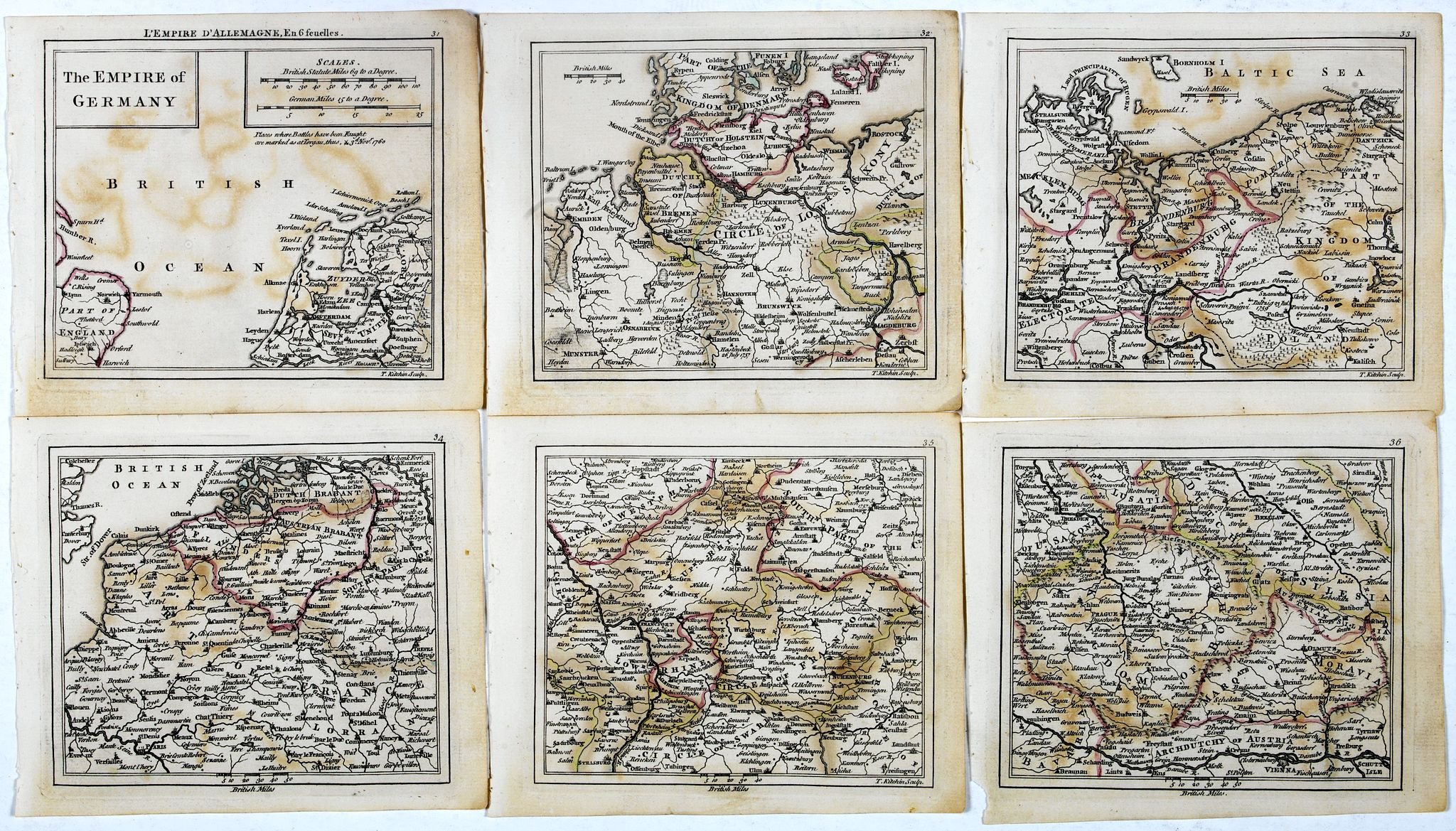 DURY, A. / SAYER, R. / KITCHIN, T.,  The Empire of Germany., antique map, old maps