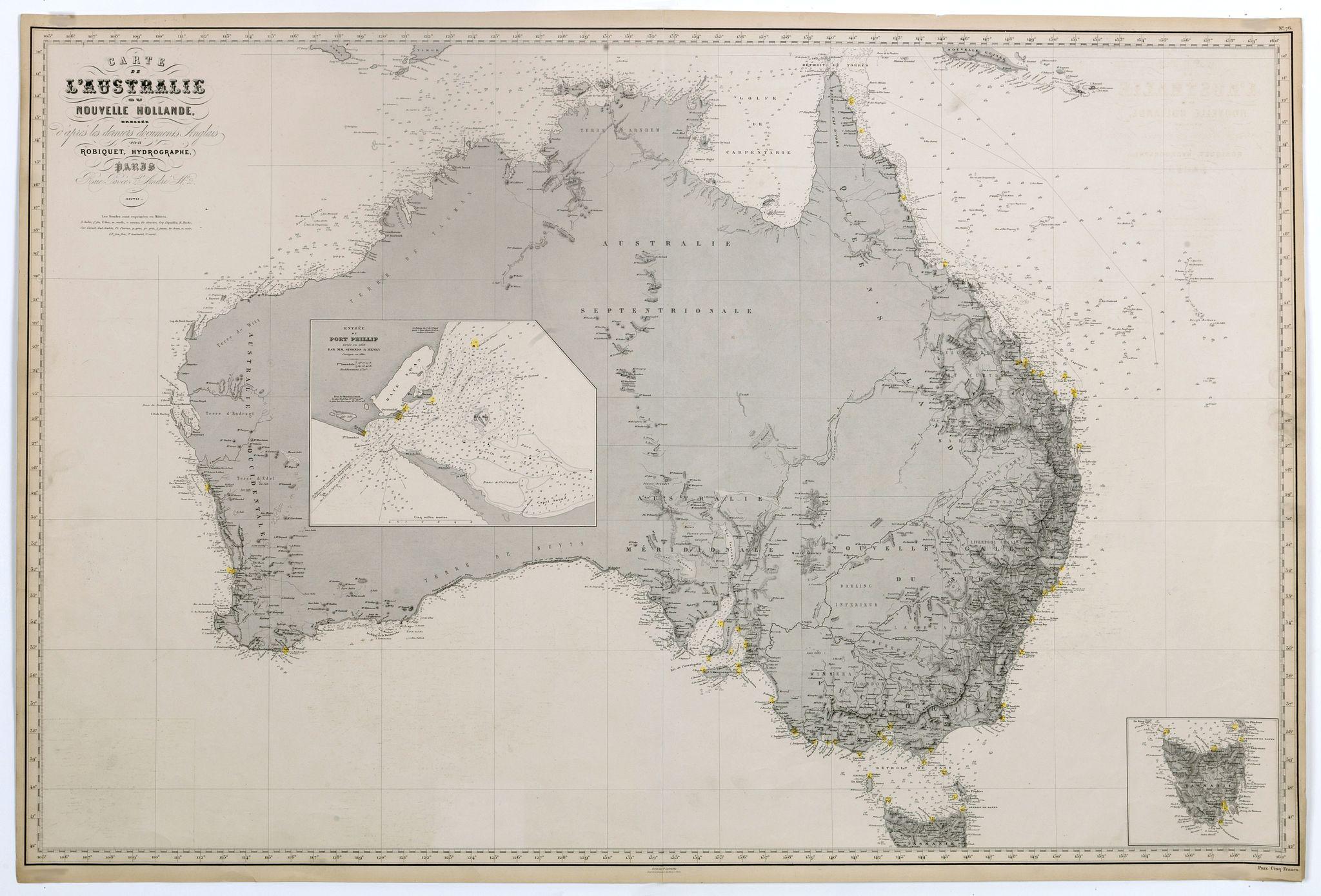 ROBIQUET. - Carte de l'Australie ou Nouvelle Hollande dressée d'aprés les derniers documents Anglais par Robiquet, Hydrographe, . . .