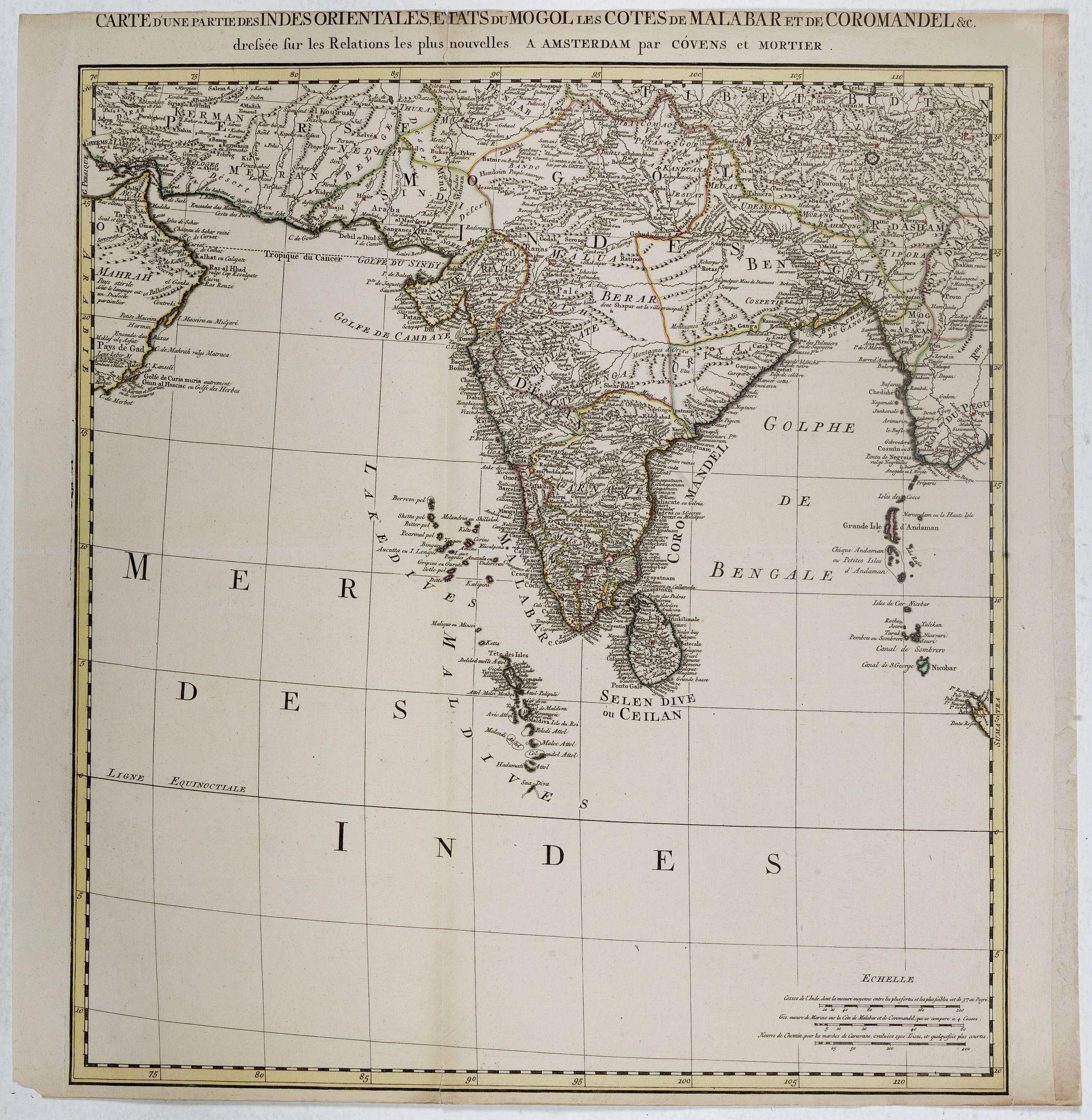 COVENS, J. / MORTIER, C. -  Carte d'une Partie des Indes Orientales, Etats du Mogol les Cotes de Malabar et de Coromandel.