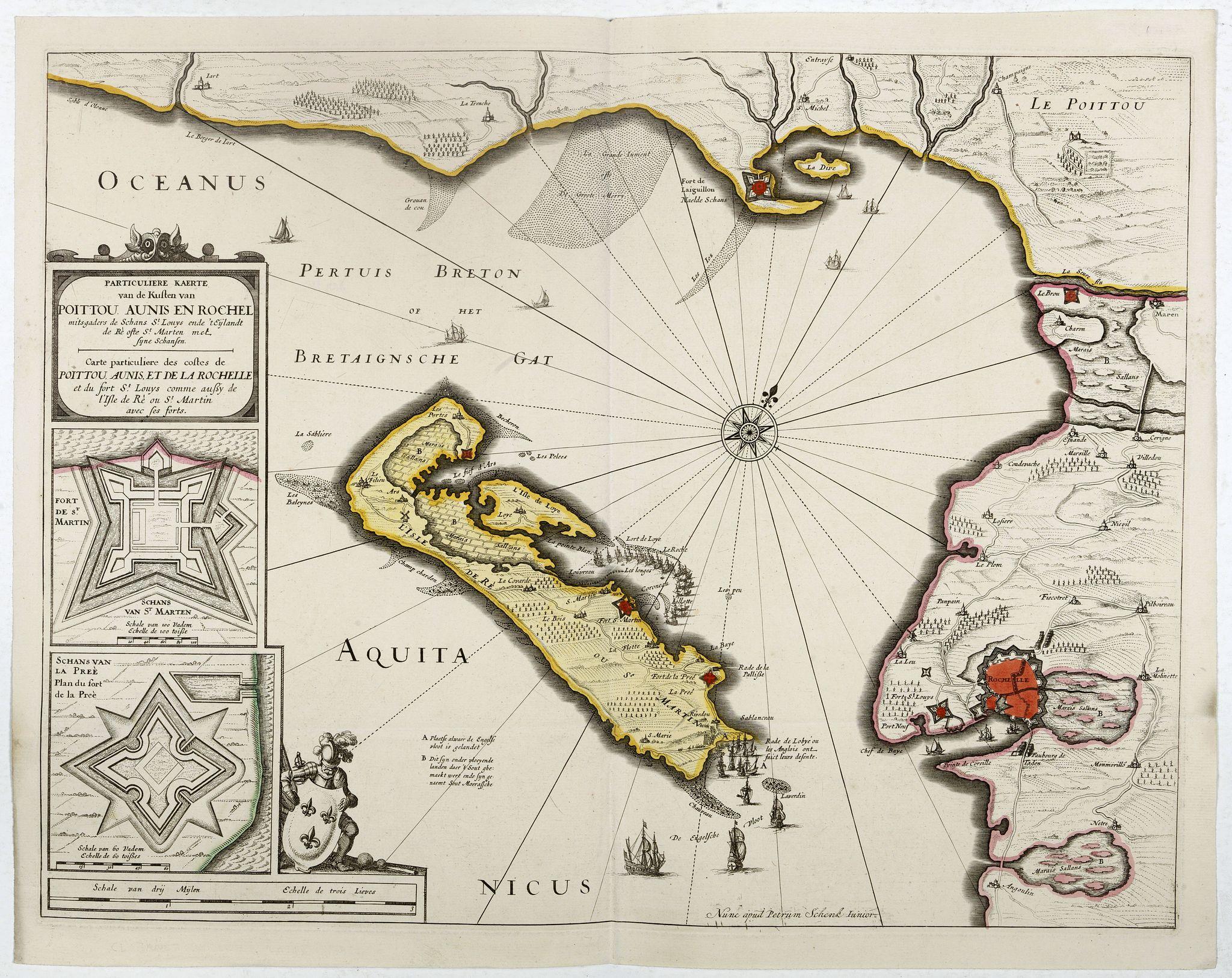 SCHENK, P. -  Carte particuliere des costes de Poittou, Aunis et de la Rochelle.