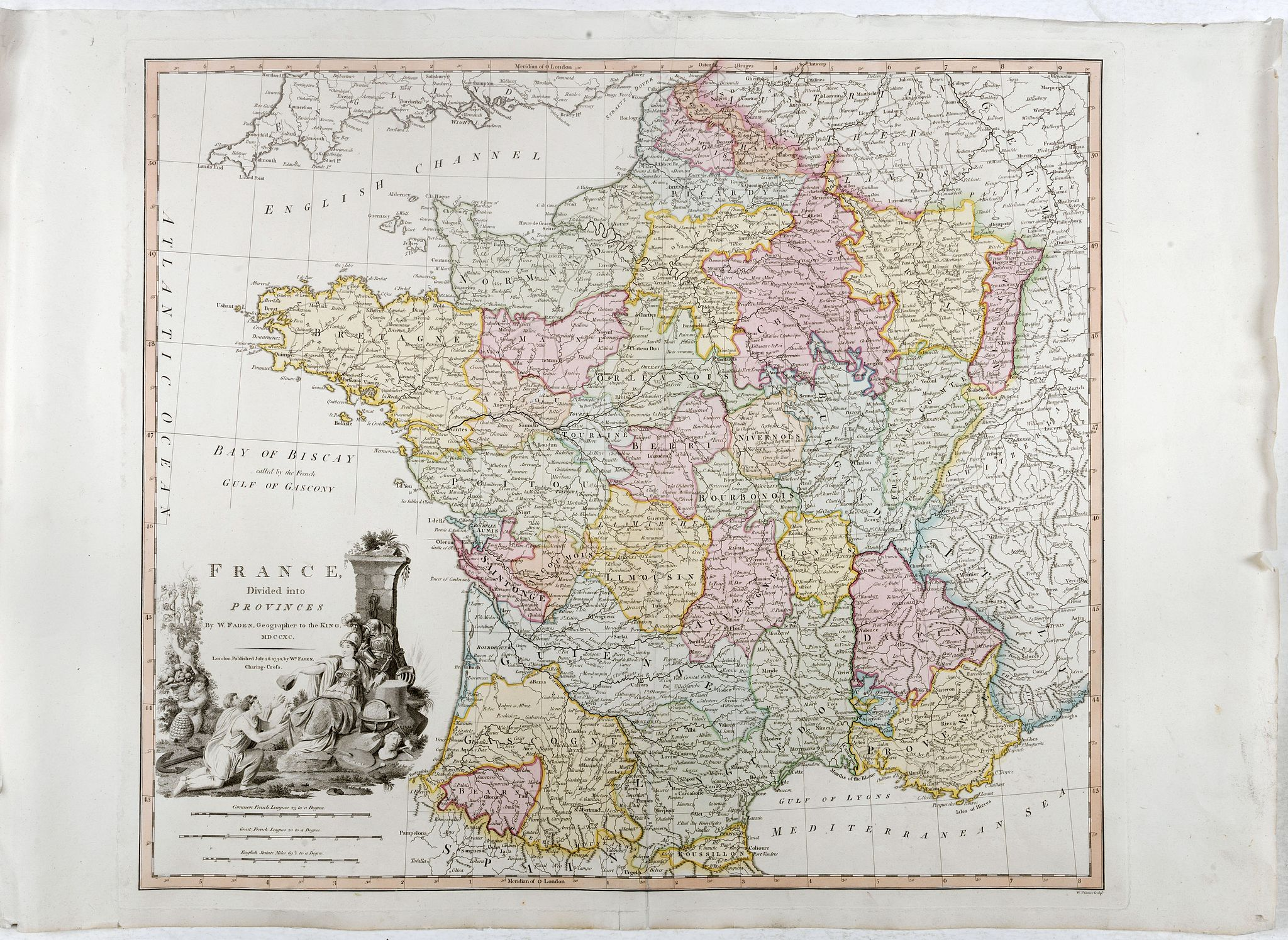 FADEN, W. -  France divided into Provinces.