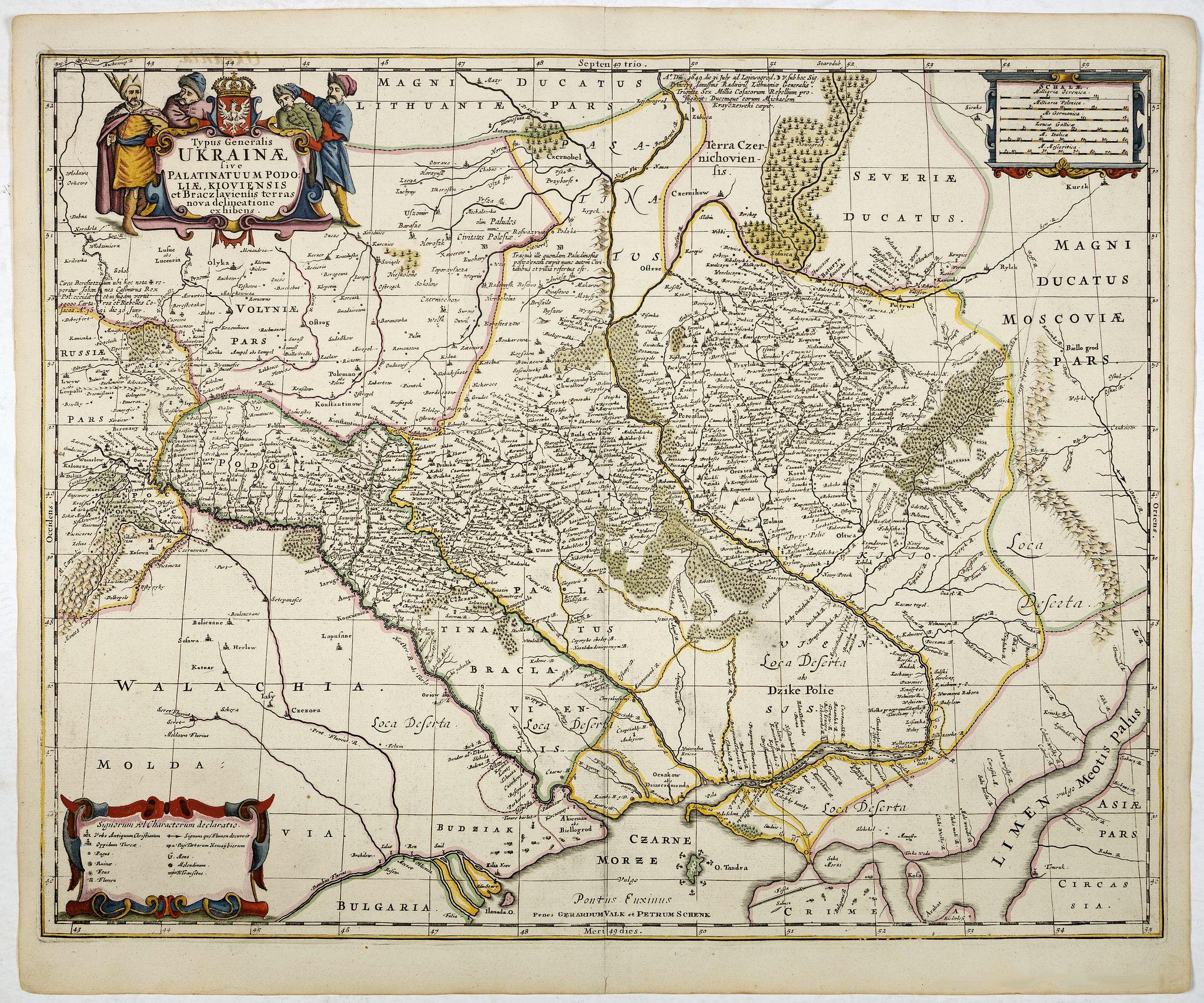 JANSSONIUS VAN WAESBERGHE -  Typus Generalis Ukrainae sive Palatinatuum Podoliae, Kioviensis et Braczlaviensis terras nova delineatione exhibens. . .