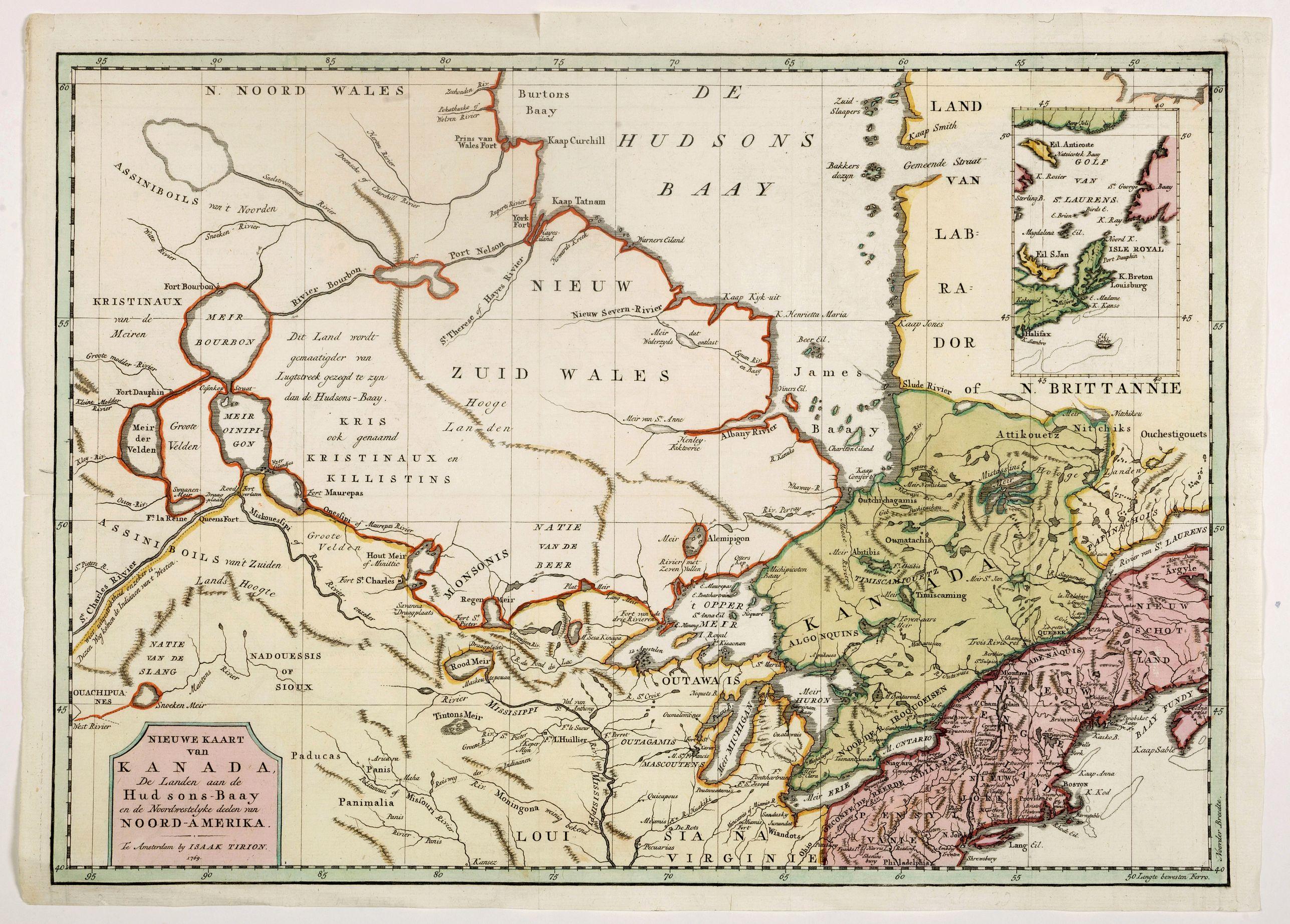 TIRION, I. -  Nieuwe kaart van Kanada . . .