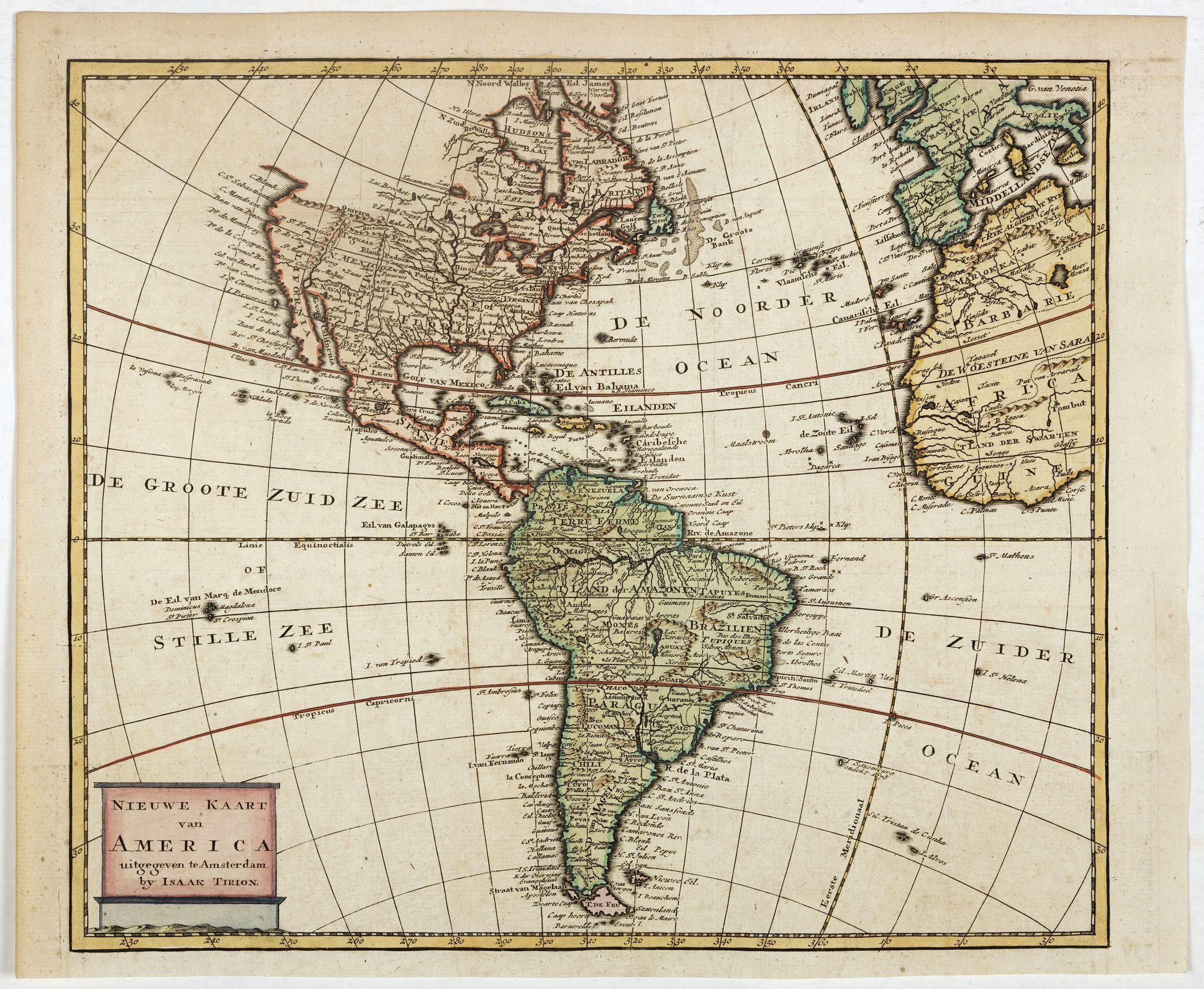 TIRION, I. -  Nieuwe kaart van America.