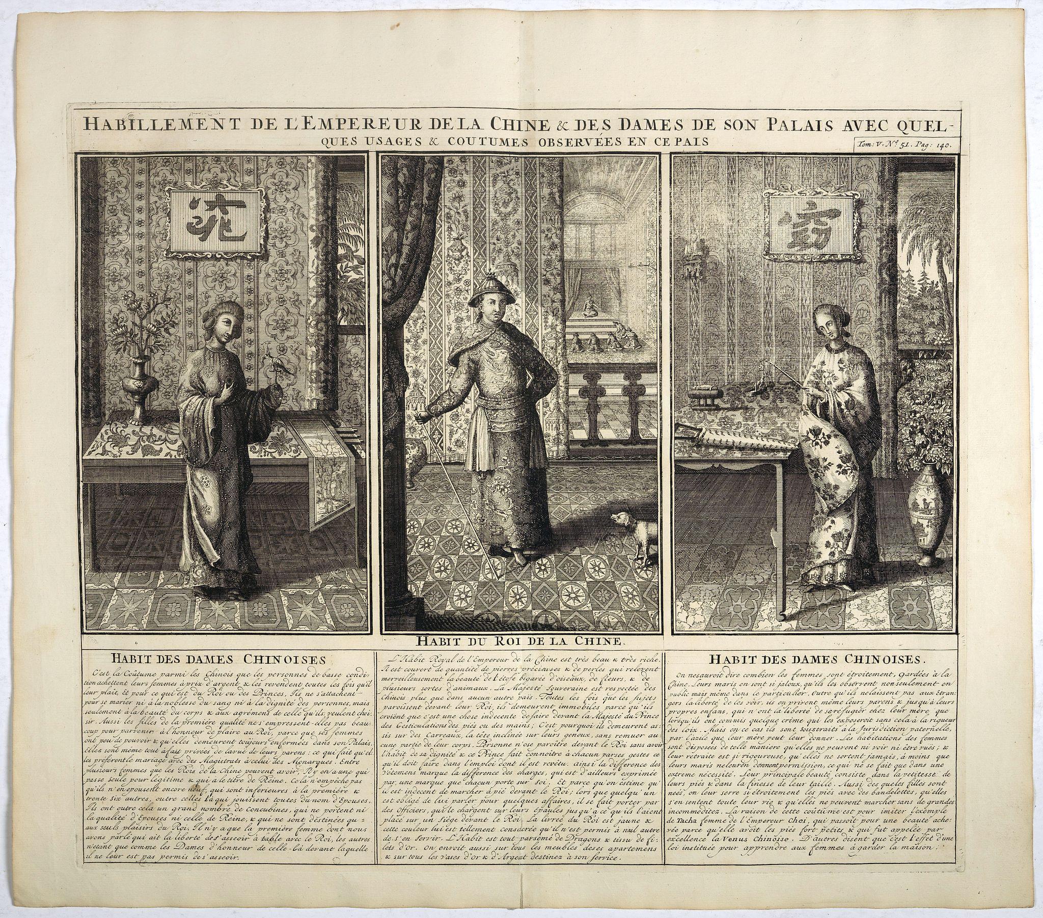 CHATELAIN, H. -  Habillement de l'Empereur de la Chine & des Dames de son Palais..